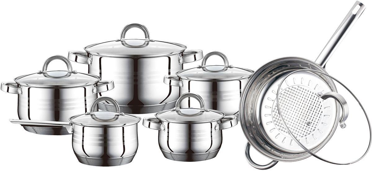 Набор посуды Elff Decor с крышками, 12 предметов. 1407-573115510Набор посуды Состоит из 12 предметов. Высококачественная нержавеющая сталь 9-ти слойное дно с повышенной термооотдачей Быстрый нагрев пищи, длительное удержание тепла Подходит для использования на всех типах кухонных плит, включая индукцию. Клепанные Не нагревающиеся ручки из нержавеющей стали Пригодна для мытья в посудомоечной машине Набор состоит из: - Ковш со стеклянной крышкой ~ 2,1 л , 16 см х 10,5 см - Кастрюля со стеклянной крышкой ~ 2,1 л, 16 см х 10,5 см - Кастрюля со стеклянной крышкой ~ 3,0 л, 18 см х 11,5 см - Кастрюля со стеклянной крышкой ~ 4,0 л, 20 см х 12,5 см - Кастрюля со стеклянной крышкой ~ 6,5 л, 24 см х 14,5 см - Сковорода со стеклянной крышкой ~ 3,3 л, 24 см х 7,5 см