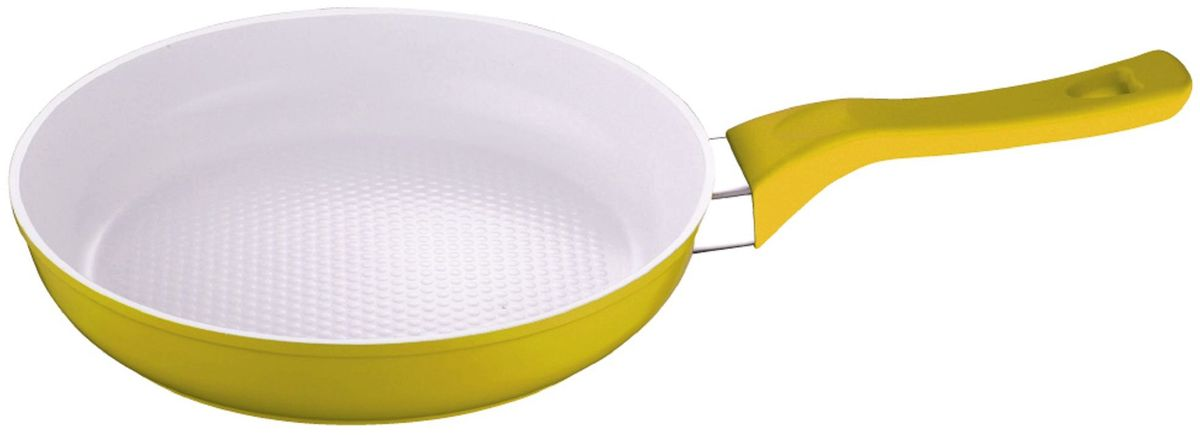 Сковорода Elff Decor, с керамическим покрытием, цвет: желтый. Диаметр 24 см94672Алюминиевая сковорода с керамическим покрытием Не нагревающаяся бакелитовая ручка Прочный и стойкий алюминий Подходит для использования на всех типах кухонных плит, включая индукцию Пригодна для мытья в посудомоечной машине.d.24x 5см.