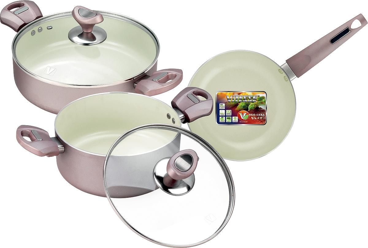 Набор кухонной посуды Vitesse, 5 предметов. VS-221754 009312Набор посуды Vitesse изготовлен из высококачественного алюминия.Набор включает: две кастрюли с крышками и сковороду.Особенности набора:- изготовлен из высококачественного алюминия, толщина 2,5 мм;- внешнее элегантное цветное покрытие, подвергшееся высокотемпературной обработке; - бакелитовая, высокопрочная, огнестойкая, ненагревающаяся ручка удобной формы на заклепках; - внутреннее керамическое покрытие; - быстрый нагрев и равномерное распределение по всей поверхности; - стеклянная жаропрочная крышка с отверстием для пара. Характеристики: Материал: алюминий, стекло, бакелит. Диаметр кастрюли, объемом 3,1 л: 24 см. Высота кастрюли, объемом 3,1 л: 7 см. Диаметр кастрюли, объемом 2,8 л: 20 см. Высота кастрюли, объемом 2,8 л: 9 см. Диаметр сковороды: 20 см. Высота сковороды: 4,5 см. Размер упаковки: 26 см х 35 см х 17 см. Изготовитель: Китай. Артикул: VS-2217.Французская торговая марка Vitesse представляет высококачественную посуду из нержавеющей стали 18/10. Vitesse профессионально занимается разработкой, производством и реализацией своей продукции на российском рынке. В настоящее время Vitesse насчитывает уже более 1000 наименований.Продукция, которая экономит силы и время, а самое главное еда, приготовленная в посуде Vitesse, дает вам силу, здоровье и энергию. Пользоваться продукцией Vitesse в наш стремительный век легко и приятно.