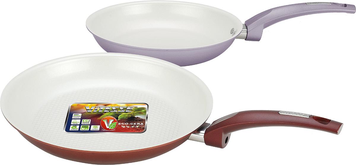 Набор сковородок Vitesse, 2 шт, диаметр 24 см, 28 см сковородки
