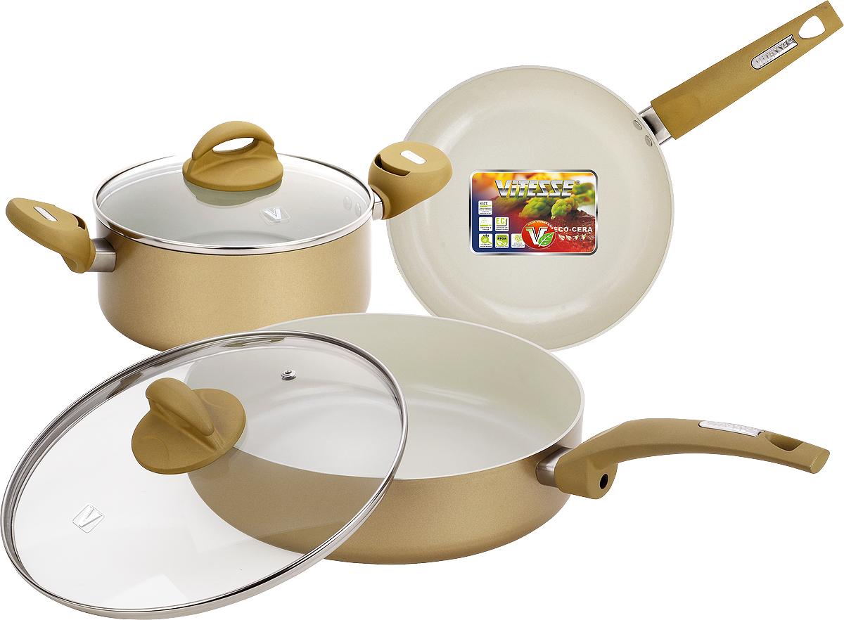 Набор посуды Vitesse, цвет: кремовый, 5 предметовVS-2225Набор посуды Vitesse изготовлен из высококачественного алюминия.Набор включает: кастрюлю с крышкой, сотейник с крышкой и сковороду. Он прекрасно подойдет для вашей кухни.Особенности набора:- изготовлен из высококачественного алюминия, толщина 2,5 мм;- внешнее элегантное цветное покрытие, подвергшееся высокотемпературной обработке; - бакелитовая, высокопрочная, огнестойкая, ненагревающаяся ручка удобной формы на заклепках; - внутреннее антипригарное керамическое покрытие Eco-Cera не содержит PFOA, благодаря чему, оно безопасно для здоровья человека и позволяет готовить при температуре 450°С; - можно использовать металлическую лопатку (нельзя использовать острые металлические предметы); - быстрый нагрев и равномерное распределение по всей поверхности; - стеклянная жаропрочная крышка с отверстием для пара и металлическим ободом по краю, который предотвратит скол стекла и обеспечит наилучшее прилегание.Посуду можно использовать на любых типах плит, кроме индукционной. Подходит для мытья в посудомоечной машине. Характеристики:Материал: алюминий, бакелит, стекло. Объем кастрюли:2,8 л. Внутренний диаметр кастрюли:20 см. Высота стенки кастрюли:8,5 см. Ширина кастрюли, с учетом ручек: 35 см. Внутренний диаметр сотейника:26 см. Высота стенки сотейника:6,5 см. Внутренний диаметр сковороды:24 см. Высота стенки сковороды: 4,5 см. Длина ручки:18 см. Размер упаковки:30 см х 28,5 см х 15 см.Изготовитель: Китай. Артикул:VS-2225.