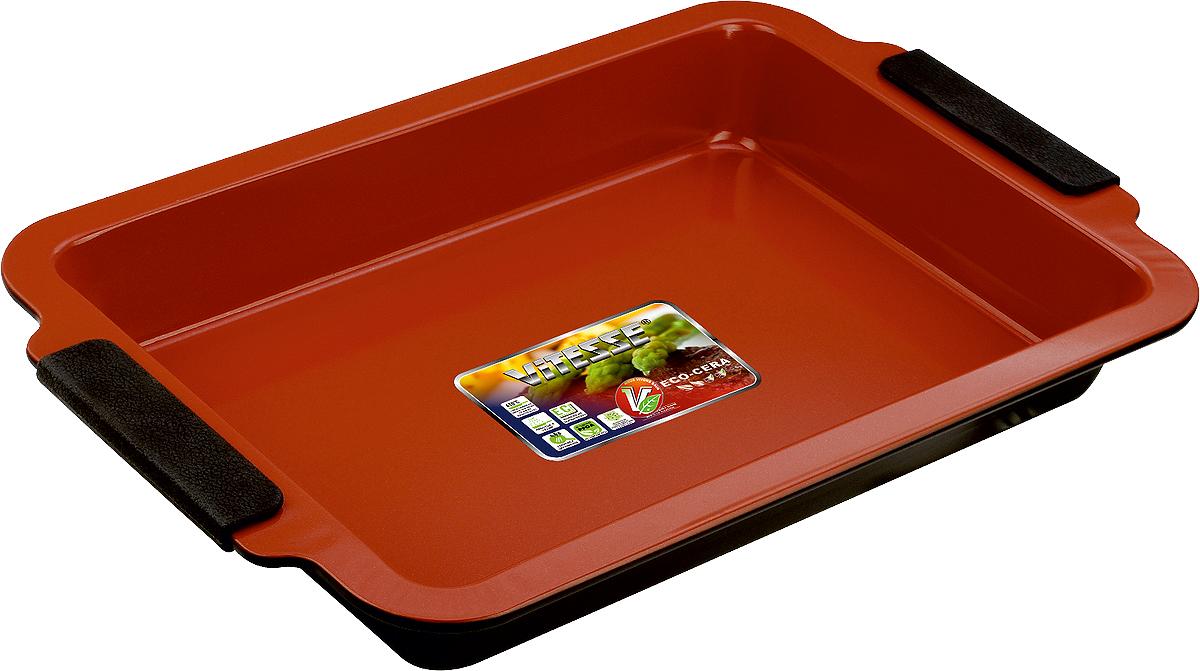 Форма для выпечки Vitesse, цвет: коричневый, 33 х 23 см391602Прямоугольная форма для выпечки Vitesse изготовлена из высококачественной углеродистой стали. Внутреннее керамическое покрытие Eco-Cera, позволяющее готовить при температуре 220°С, не оставляет послевкусия, делает возможным приготовление блюд без масла, сохраняет витамины и питательные вещества. Покрытие безопасно для человека, не содержит PFOA. Высокотехнологичное внешнее антипригарное покрытие устойчиво к царапинам и механическим повреждениям. Удобные ручки оснащены съемными силиконовыми вставками. Простая в уходе и долговечная в использовании форма Vitesse будет верной помощницей в создании ваших кулинарных шедевров.Можно мыть в посудомоечной машине. Характеристики:Материал:углеродистая сталь, силикон. Цвет: коричневый. Внутренний размер формы: 33 см х 23 см. Размер формы (с учетом ручек):41 см х 27 см. Высота стенки:5 см.Изготовитель: Китай. Размер упаковки: 41 см х 27 см х 5 см. Артикул: VS-2353.