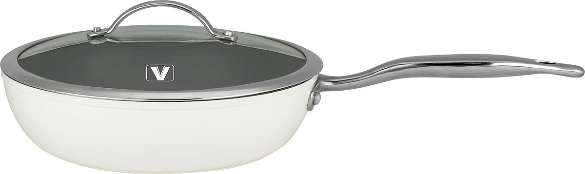 Сотейник Vitesse Elegance с крышкой, с керамическим покрытием, цвет: белый. Диаметр 24 см54 009312Сотейник Vitesse Elegance изготовлен из высококачественного алюминия. Внутреннее керамическое покрытие Eco-Cera, позволяющее готовить при высоких температурах, не оставляет послевкусия, делает возможным приготовление блюд без масла, сохраняет витамины и питательные вещества. Покрытие устойчиво к царапинам и механическим повреждениям. Покрытие безопасно для человека, не содержит PFOA. Внешнее белое термостойкое покрытие сохраняет цвет долгое время и обладает жироотталкивающими свойствами. Дно сотейника снабжено антидеформационным индукционным диском. Сотейник быстро разогревается, распределяя тепло по всей поверхности, что позволяет готовить в энергосберегающем режиме, значительно сокращая время, проведенное у плиты.Ручка из нержавеющей стали 18/10 надежно крепится к корпусу сотейника заклепками.Крышка из термостойкого стекла снабжена металлическим ободом, удобной стальной ручкой и отверстием для выпуска пара. Такая крышка позволит следить за процессом приготовления пищи без потери тепла. Она плотно прилегает к краям сотейника, сохраняя аромат блюд. Сотейник Vitesse Elegance подходит для использования на всех типах кухонных плит, включая индукционные. Можно мыть в посудомоечной машине. Характеристики:Материал: алюминий, нержавеющая сталь 18/10, стекло. Цвет: белый. Объем сотейника: 2,3 л. Внутренний диаметр сотейника: 24 см. Высота стенки сотейника: 6,5 см. Толщина стенки: 2,7 мм. Толщина дна: 5 мм. Длина ручки: 21 см. Диаметр индукционного диска: 14,5 см.Кухонная посуда марки Vitesse из нержавеющей стали 18/10 предоставит вам все необходимое для получения удовольствия от приготовления пищи и принесет радость от его результатов. Посуда Vitesse обладает выдающимися функциональными свойствами. Легкие в уходе кастрюли и сковородки имеют плотно закрывающиеся крышки, которые дают возможность готовить с малым количеством воды и экономией энергии, и идеально подходят для всех в