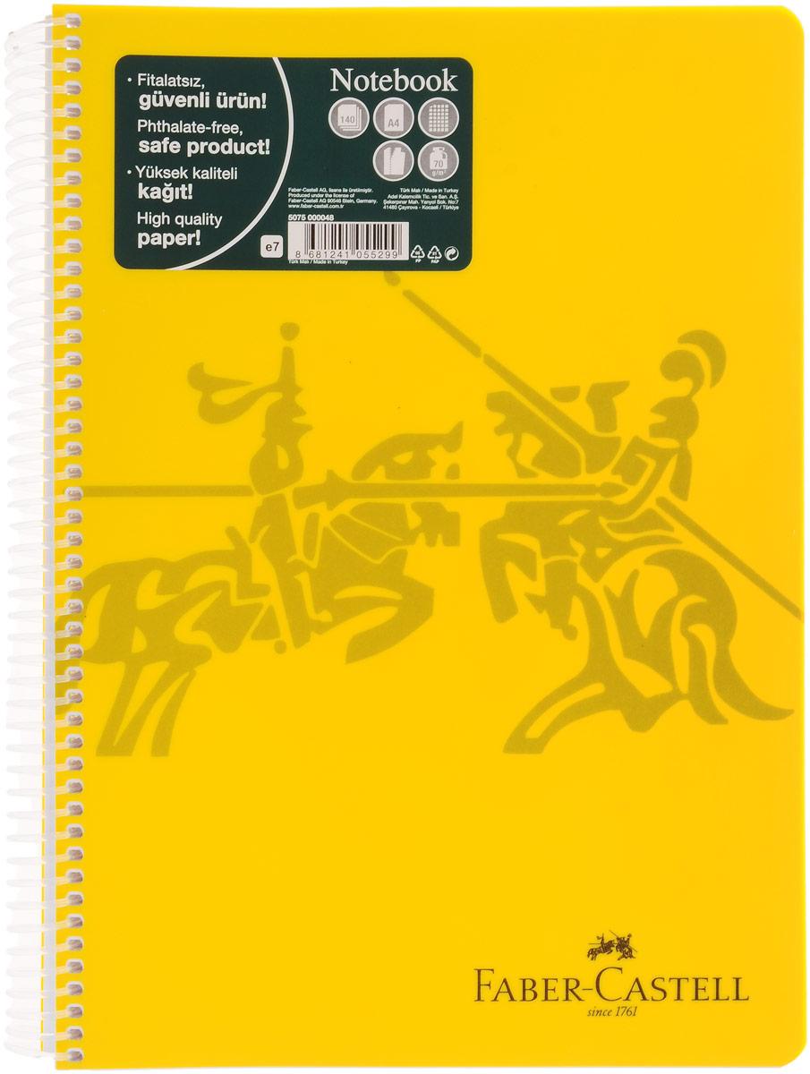 Faber-Castell Блокнот Knight 140 листов в клетку цвет желтый2126327Оригинальный блокнот Faber-Castell Knight в твердой пластиковой обложке подойдет для памятных записей, любимых стихов и многого другого.Блок состоит из 140 листов в клетку. Блокнот изготовлен со спиралью. Такой блокнот станет не только достойным аксессуаром среди ваших канцелярских принадлежностей, но и практичным подарком для в близких и друзей.