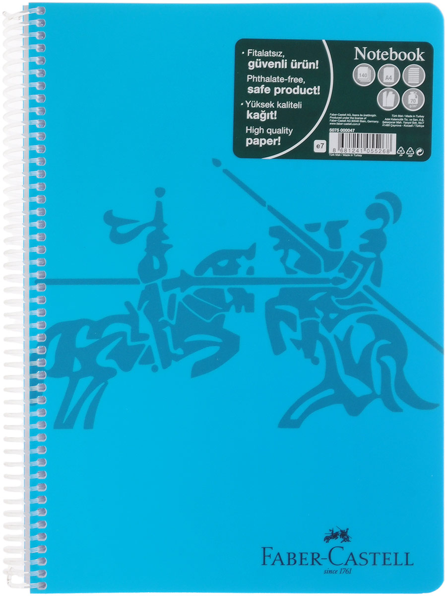 Faber-Castell Блокнот Knight 140 листов в линейку цвет голубой1089600Оригинальный блокнот Faber-Castell Knight в твердой пластиковой обложке подойдет для памятных записей, любимых стихов и многого другого.Блок состоит из 140 листов в линейку. Блокнот изготовлен со спиралью. Такой блокнот станет не только достойным аксессуаром среди ваших канцелярских принадлежностей, но и практичным подарком для в близких и друзей.