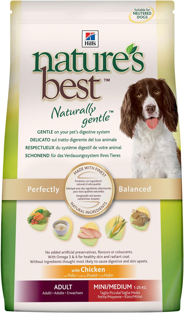 Корм сухой Hills Natures Best для собак мелких и средних пород, с курицей и овощами, 12 кг5596Рацион Hills Natures Best специально разработан для удовлетворения пищевых потребностей взрослых собак старше 1 года мелких и средних пород. Изготовлен из превосходных ингредиентов, помогает поддерживать здоровое пищеварение и сильный иммунитет у вашего питомца и обеспечивает полноценное, точно сбалансированное питание для того, чтобы ваша собака всегда оставалась здоровой и активной. Ключевые преимущества: Оказывает мягкое действие на пищеварительную систему. Изготовлен из превосходных натуральных ингредиентов. Точный баланс питательных веществ. Не содержит искусственных красителей, ароматизаторов и консервантов. Эффективный комплекс антиоксидантов для иммунной системы. Содержит Омега-3 и Омега-6 жирные кислоты для здоровой кожи и сияющей шерсти. Без добавления ингредиентов, которые могут вызывать расстройства ЖКТ и заболевания кожи. Состав: кукуруза, мука из мяса курицы и индейки, мука из кукурузного глютена, животный жир, гидролизат белка, коричневый рис, минералы, ячмень, овсяная крупа, растительное масло, высушенная мякоть свеклы, высушенная морковь, высушенный горох, томатные выжимки, порошок шпината, мякоть цитрусовых, виноградные выжимки, рис, семя льна, L-лизина гидрохлорид, L-карнитин, L-триптофан, витамины и микроэлементы. Содержит натуральные консерванты - смесь токоферолов, лимонную кислоту и экстракт розмарина. Окрашено оксидом железа. Среднее содержание нутриентов в рационе: протеины 23,5%, жиры 13,8%, углеводы 47,6%, влага 8%, клетчатка (общая) 2,3%, кальций 0,78%, фосфор 0,56%, натрий 0,18%, калий 0,6%, магний 0,08%, Омега-3 жирные кислоты 0,4%, Омега-6 жирные кислоты 3,1%, витамин A 6490 МЕ/кг, витамин D 650 МЕ/кг, витамин С 100 мг/кг, витамин Е 500 мг/кг, бета-каротин 1,5 мг/кг, L-карнитин 320 мг/кг. Энергетическая ценность: 366 Ккал/100 г. Товар сертифицирован. Уважаемые клиенты! Обращаем ваше внимание на возможные изменения в дизайне упаковки. Качествен