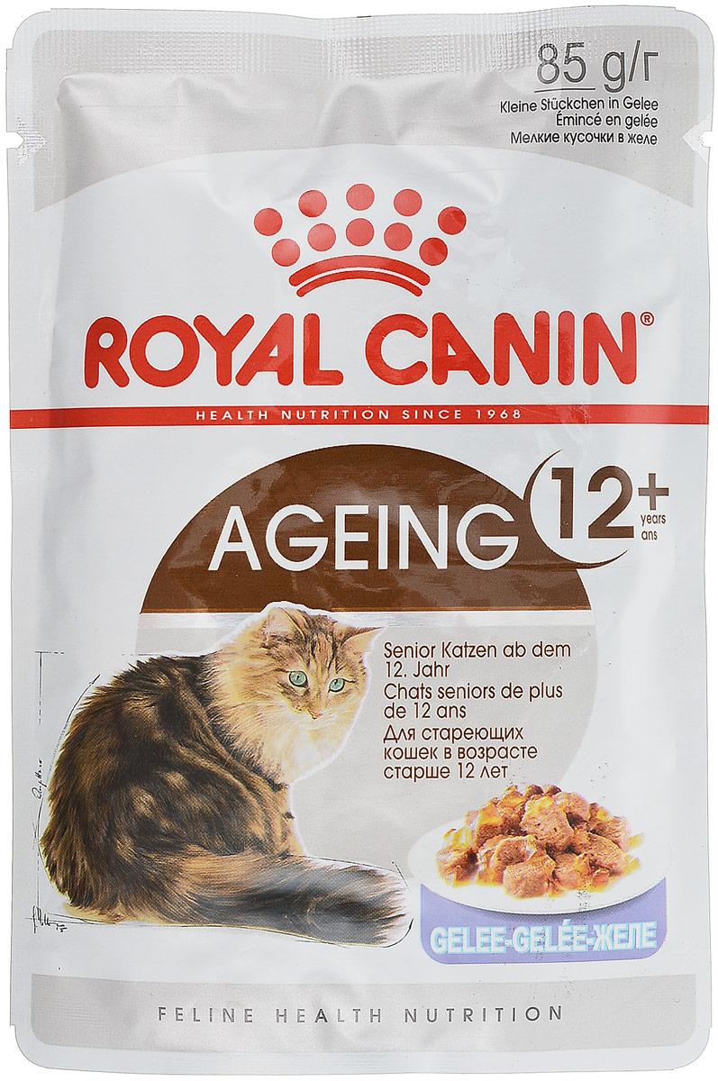 Консервы Royal Canin Ageing +12, для кошек старше 12 лет, мелкие кусочки в желе, 85 г0120710Консервы Royal Canin Ageing +12 - полноценное сбалансированное питание для кошек 12 лет и старше. Способствует поддержанию здоровья суставов благодаря повышенному содержанию незаменимых жирных кислот EPA и DHA.Способствует поддержанию здоровья почек пожилых кошек благодаря умеренному содержанию фосфора. Также стимулирует аппетит вашего питомца.Состав: мясо и мясные субпродукты, злаки, субпродукты растительного происхождения, экстракты белков растительного происхождения, масла и жиры, минеральные вещества, моллюски и ракообразные, углеводы.Добавки (в 1 кг):Витамин D3: 230 ME, Железо: 3,6 мг, Йод: 0,1 мг, Марганец: 1,1 мг, Цинк: 11 мг. Товар сертифицирован.Уважаемые клиенты! Обращаем ваше внимание на возможные изменения в дизайне упаковки. Качественные характеристики товара остаются неизменными. Поставка осуществляется в зависимости от наличия на складе.