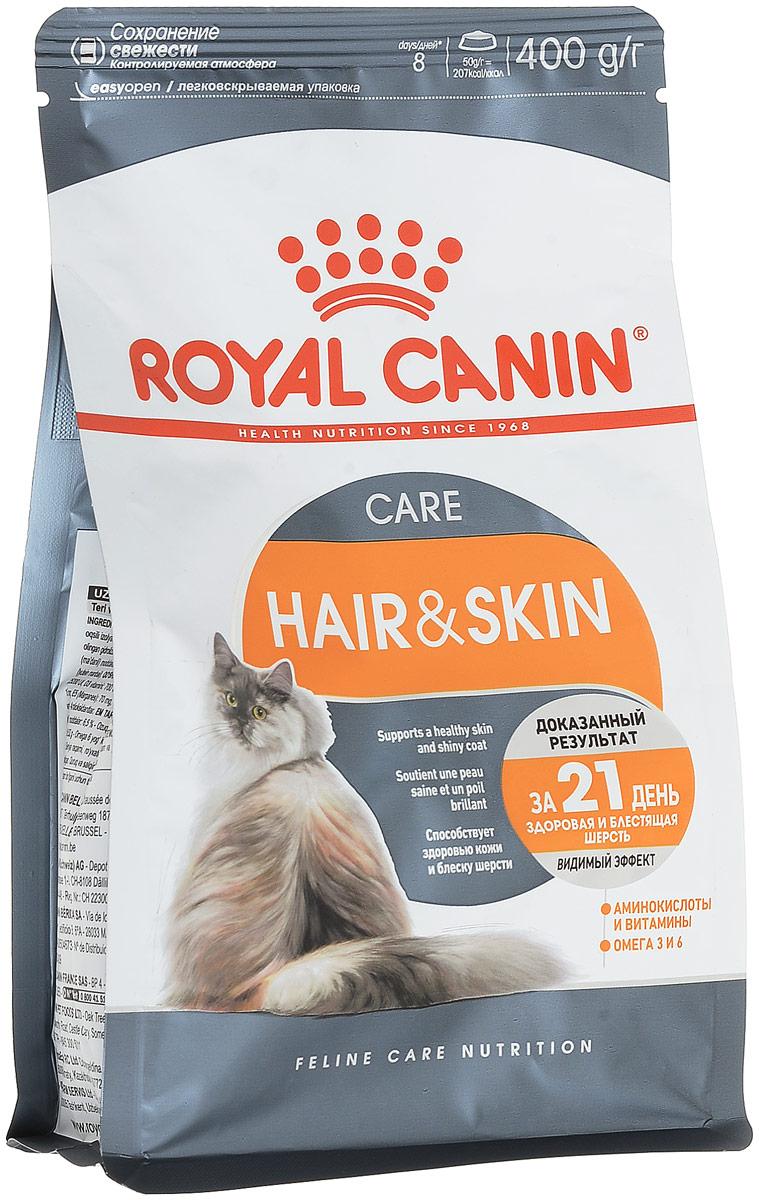 Корм сухой Royal Canin Hair & Skin Care, длявзрослых кошек с чувствительной кожей или поврежденной шерстью, 400 г0120710Сухой корм Royal Canin Hair & Skin Care - это полнорационный сбалансированный корм для взрослых кошек с чувствительной кожей и поврежденной шерстью. Клетки кожи постоянно обновляются и нуждаются в питательных веществах. Повышенная чувствительность кожи часто приводит к ухудшению качества шерсти. Правильно подобранное питание поможет решить эту проблему. Hair & Skin Care - тщательно сбалансированная формула, помогающая поддерживать здоровье кожи и шерсти. Продукт содержит: - Уникальную комбинацию питательных веществ, в том числе эксклюзивный комплекс аминокислот и витаминов B,для поддержания барьерной функции кожи. - Легкоусвояемые белки (L.I.P), жирные кислоты Омега 3 и 6, известные своим благоприятным воздействием на состояние шерсти и кожи.Баланс минеральных веществ продукта поддерживает здоровье мочевыводящих путей взрослой кошки.Состав: дегидратированные белки животного происхождения (птица), злаки, растительная клетчатка, рис, изолят растительных белков L.I.P., животные жиры, гидролизатбелков животного происхождения, свекольный жом, растительная клетчатка, минеральные вещества, рыбий жир, соевое масло, дрожжи, экстракт бархатцев прямостоячих, масло огуречника аптечного.Добавки (в 1 кг): витамин A - 25200 ME, витамин D3 - 700 ME, железо - 54 мг, йод - 5,4 мг, марганец - 70 мг, цинк - 211 мг, сeлeн - 0,1 мг. Товар сертифицирован.Уважаемые клиенты! Обращаем ваше внимание на возможные изменения в дизайне упаковки. Качественные характеристики товара остаются неизменными. Поставка осуществляется в зависимости от наличия на складе.