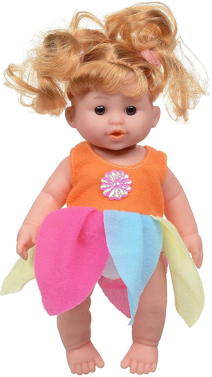 Veld-Co Мини-кукла озвученная цвет платья оранжевый розовый голубой