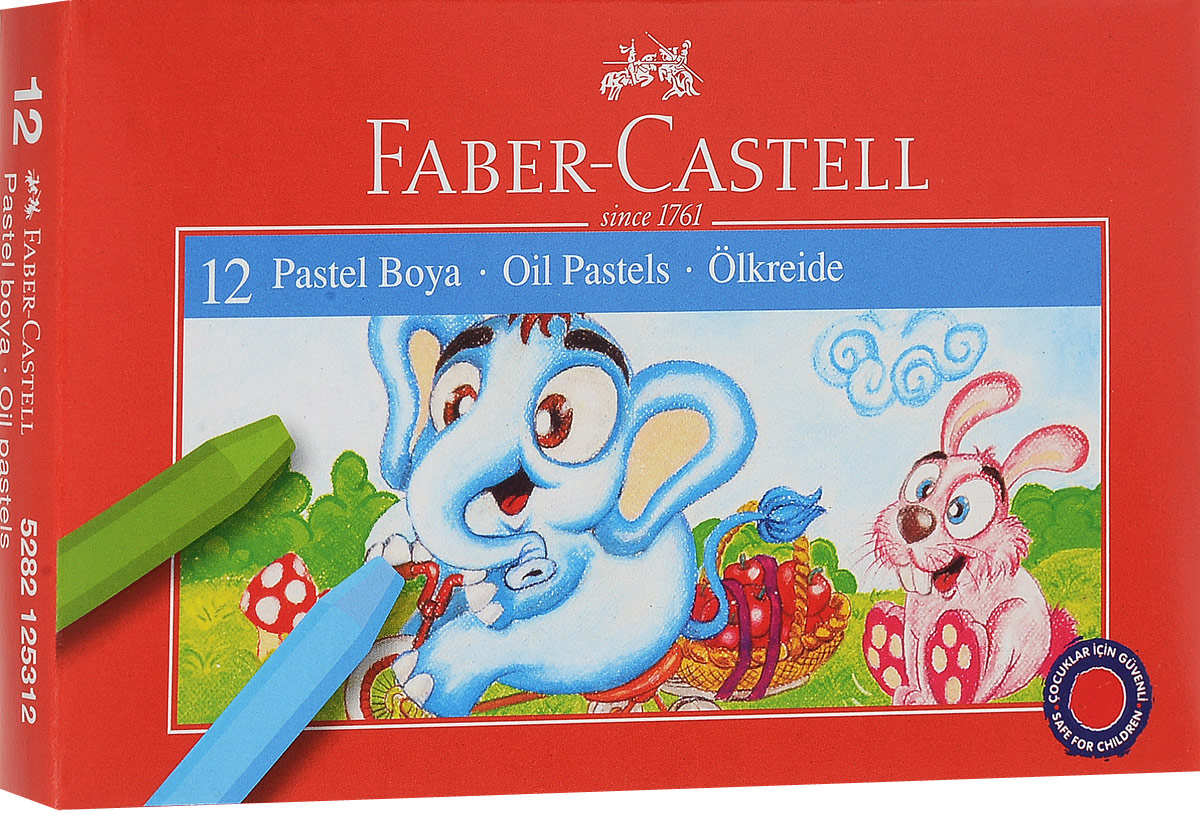 Масляная пастель Faber-Castell, 12 цветовFS-00897Масляная пастель Faber-Castell включает в себя 12 мелков насыщенных цветов - желтого, оранжевого, красного, темно-красного, розового, фиолетового, синего, голубого, зеленого, темно-зеленого, коричневого и черного.Пастель отличается высоким качеством и впечатляюще яркими цветами. Она обеспечит комфортное и мягкое рисования. Благодаря однородной консистенции пастель не крошится. Превосходно ложится на бумагу, картон, дерево и камень, устойчива к температуре. Цвета можно смешивать для получения новых оттенков.Масляная пастель Faber-Castell, безопасная для малыша, позволит вашему маленькому художнику раскрыть свой талант. Подарите своему ребенку радость творчества!Уважаемые клиенты! Обращаем ваше внимание на то, что упаковка может иметь несколько видов дизайна. Поставка осуществляется в зависимости от наличия на складе.