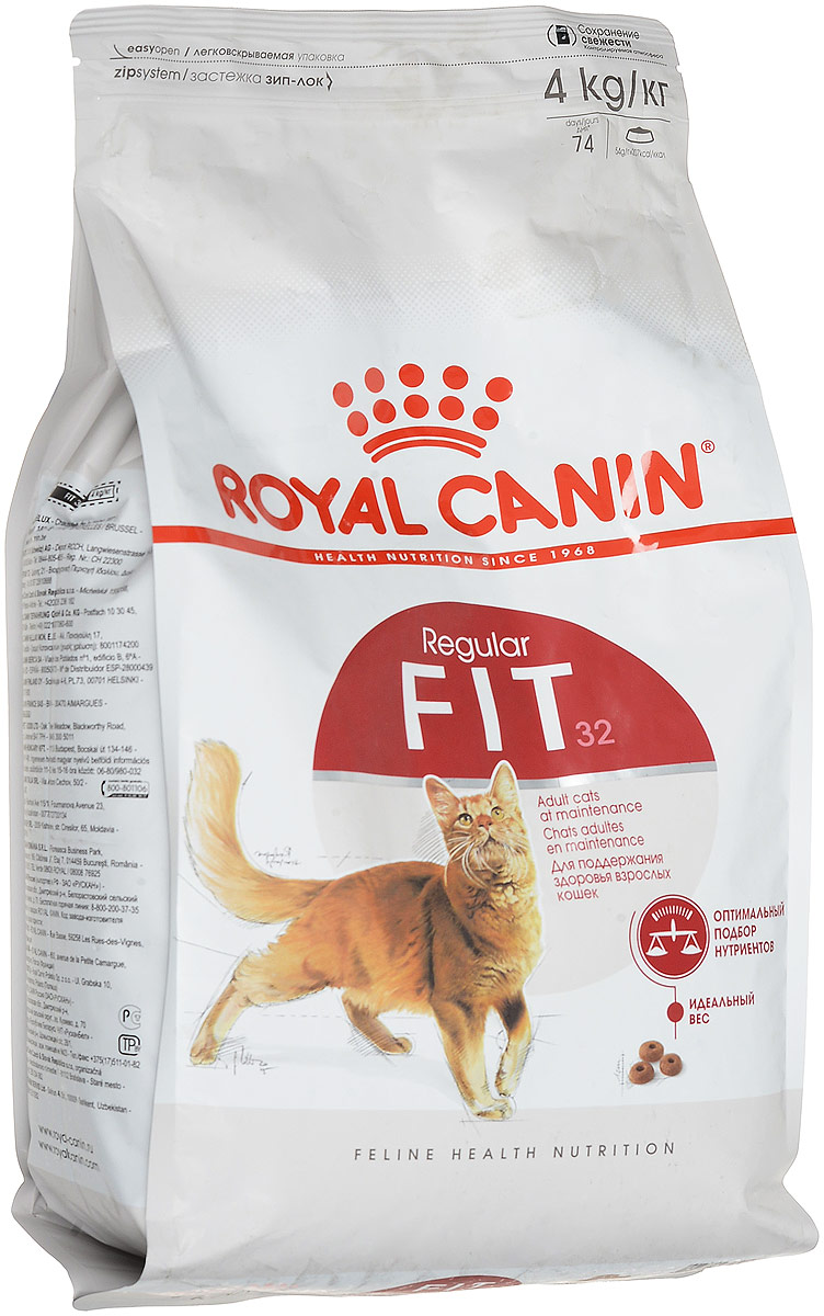 Корм сухой Royal Canin Fit 32 для кошек, имеющих доступ на улицу, 4 кг0120710Корм сухой Royal Canin Fit 32 для кошек, живущих в помещении, но время от времени бывающих на улице. Рацион таких кошек должен содержать все необходимые питательные вещества для поддержания хорошей физической формы.Необходимо учитывать предрасположенность этих кошек к набору избыточного веса, так как при долгом пребывании в помещении потребление калорий может превышать энергетические затраты.Они часто вылизывают свою шерсть, следовательно, возрастает риск образования волосяных комочков в желудке кошки. Активное выведение волосяных комочков благодаря действию неферментируемой клетчатки и свекольного жома, стимулирующих кишечный транзит у кошек.Royal Canin Fit 32 - сбалансированный продукт, который состоит из 52 питательных веществ. Этот корм прекрасно удовлетворяет потребности кошек в белках, жирных кислотах, пищевых волокнах, витаминах и минералах, и помогает сохранить отличную физическую форму кошки. Поддержание идеального веса кошки осуществляется благодаря оптимальному уровню калорийности, адаптированному для кошки с умеренной активностью.Состав: дегидрированное мясо птицы, рис, кукуруза, кукурузная клейковина, дегиратированные белки животного происхождения (свинина), животные жиры, растительная клетчатка, гидролизат белков животного происхождения, пшеница, пшеничная мука, свекольный жом, дрожжи, минеральные вещества, соевое масло, рыбий жир, яичный порошок, гидролизат дрожжей (источник маннановых олигосахаридов), экстракт бархатцев прямостоячих (источник лютеина).Добавки (в 1 кг): Питательные добавки: Витамин А: 14400 МЕ, Витамин D3: 700 МЕ, Железо: 34 мг, Йод: 2,6 мг, Марганец: 44 мг, Цинк: 145 мг, Селен: 0,09 мг.Консервант: сорбат калия.Антиокислители: пропилгаллат, БГА.Содержание питательных веществ: Белки - 32%, Жиры - 15%, Минеральные вещества - 6,9 %, Клетчатка пищевая - 4,4 %, Медь 15 мг/кг.Товар сертифицирован.Уважаемые клиенты! Обращаем ваше внимание на возможные изменения в ди