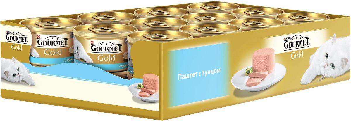 Консервы Gourmet для взрослых кошек, с тунцом, 85 г, 24 шт0120710GOURMET Gold®– это золотая коллекция вкусов и текстур, такие как террин по-французски, паштет, нежные биточки и другие роскошные блюда, перед которыми не устоит даже самая взыскательная кошка. мясо и мясные субпродукты (тунец) минеральные вещества, продукты переработки злаков, сахара, минеральные вещества, витамины. МЕ/кг: витамин A: 1440 ; витамин D3: 220.мг/кг: железо: 10; йод:0,2; медь: 0,9; марганец: 1,9; цинк: 10.