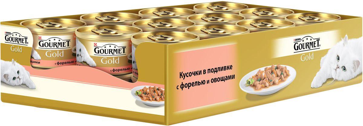 Консервы Gourmet для взрослых кошек, с форелью и овощами, 85 г, 24 шт0120710GOURMET Gold®– это золотая коллекция вкусов и текстур, такие как террин по-французски, паштет, нежные биточки и другие роскошные блюда, перед которыми не устоит даже самая взыскательная кошка. мясо и субпродукты, злаки, рыба и продукты переработки рыбы (форель), овощи, сахара, минеральные вещества. МЕ/кг: витамин A: 1290; витамин D3: 200.мг/кг: железо: 9; йод:0,2; медь: 0,8; марганец: 1,7; цинк: 9.