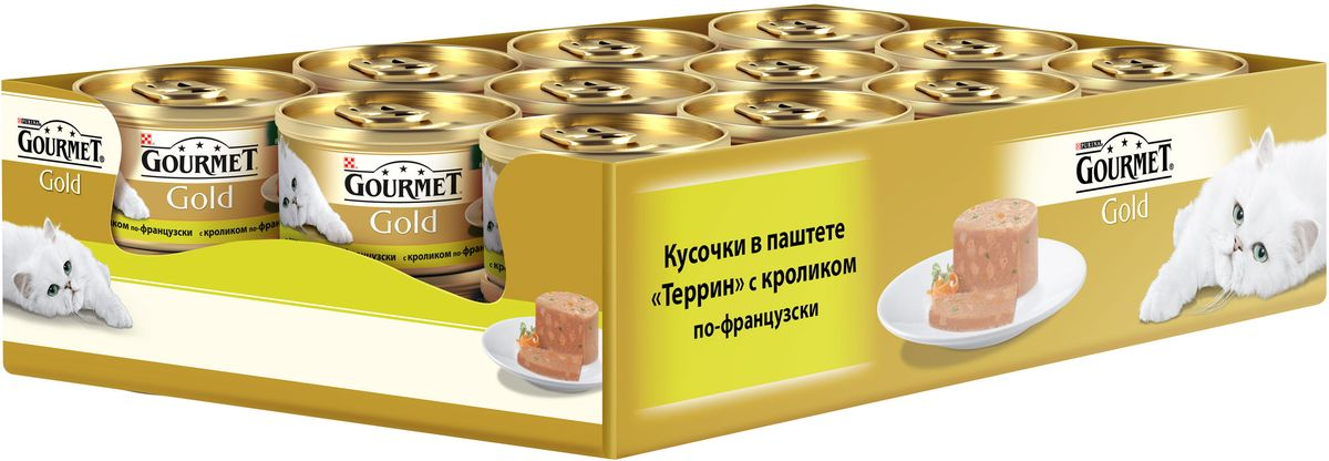 Консервы Gourmet для взрослых кошек, с кроликом по-французски, 85 г, 24 шт12254211GOURMET Gold®– это золотая коллекция вкусов и текстур, такие как террин по-французски, паштет, нежные биточки и другие роскошные блюда, перед которыми не устоит даже самая взыскательная кошка. мясо и мясные субпродукты (кролик), минеральные вещества, сахара, продукты переработки растительного сырья, витамины, консерванты. МЕ/кг: витамин A: 870; витамин D3: 130.мг/кг: железо: 31; йод:0,38; медь: 3,5; марганец: 6,05; цинк: 50.Tехнологическая добавка: мг/кг: камедь кассии: 2300.