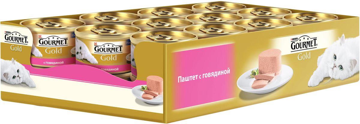 Консервы Gourmet для взрослых кошек, с говядиной, 85 г, 24 шт0120710GOURMET Gold®– это золотая коллекция вкусов и текстур, такие как террин по-французски, паштет, нежные биточки и другие роскошные блюда, перед которыми не устоит даже самая взыскательная кошка. мясо и продукты переработки мяса (говядина), продукты переработки злаков, минеральные вещества, сахара, витамины. МЕ/кг: витамин А: 1440; витамин D3: 220мг/кг: железо: 10; йод:0,2; медь: 0,9; марганец: 1,9; цинк: 10С консервантами.