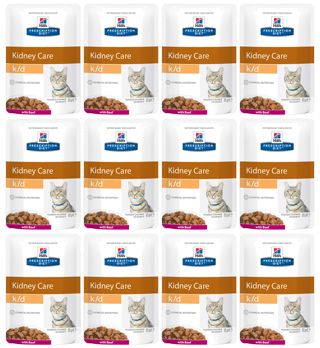 Консервы для кошек Hills Prescription Diet. K/D, при заболевании почек и урологическом синдроме, с говядиной, 85 г, 12 шт3411Консервы для кошек Hills Prescription Diet. K/D рекомендуются при хронических заболеваниях почек, при заболеваниях сердца, при уратном и цистиновом уролитиазе.Не рекомендуется котятам, беременным и кормящим кошкам, кошкам с дефицитом натрия в организме.В 2-х летнем исследовании клинически доказано что у кошек, питавшихся рационом Hills Prescription Diet k/d Feline, значительно реже отмечались эпизоды уремии и снижался уровень смертности. Ключевые преимущества: - Сниженное содержание фосфора помогает замедлить развитие заболевания почек. - Контролируемое содержание протеина помогает снизить накопление токсичных продуктов белкового обмена, в то же время удовлетворяя потребность организма в протеинах. Уменьшает концентрацию в моче компонентов уратных и цистиновых уролитов. - Повышенное содержание непротеиновых калорий помогает обеспечить поступление энергии и не допускает катаболизма протеинов. - Повышенная буферная емкость рациона препятствует развитию метаболического ацидоза. - Омега-3 жирные кислоты улучшают почечный кровоток. - Содержание натрия снижено, что помогает замедлить развитие заболевания почек. Уменьшает задержку воды в организме на ранних стадиях заболеваний сердца. - Повышенное содержание растворимой клетчатки уменьшает реабсорбцию аммония в кишечнике. Помогает понизить концентрацию мочевины в крови. - Повышенное содержание витаминов группы В восполняет потери данных витаминов при полиурии. - Антиоксидантная формула нейтрализует действие свободных радикалов для поддержания функции почек. Ингредиенты: курица, свинина, говядина (4%), кукурузный крахмал, пшеничная мука, крахмал из тапиоки, различные сахара, минералы и микроэлементы, витамины, лосось, рыбий жир, животный жир, протеиновая мука (сухой белок), подсолнечное масло, концентрат протеина гороха. Окрашено оксидом железа и натуральной карамелью.Среднее содержание нутриентов в р