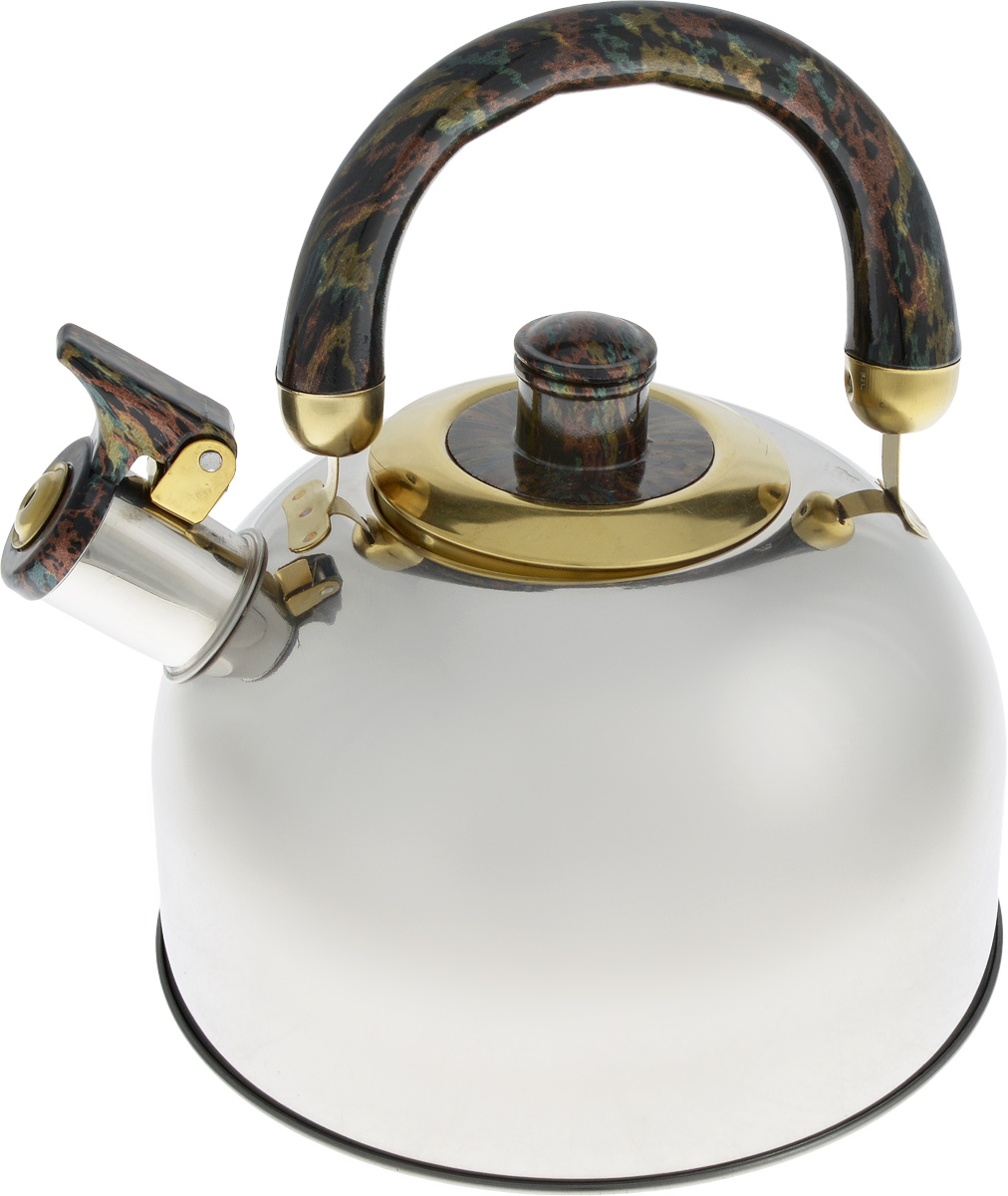 Чайник Bohmann, со свистком, 2,5 л68/5/3Чайник Bohmann изготовлен из нержавеющей хромоникелевой стали с зеркальной полировкой. Высококачественная сталь представляет собой материал, из которого в течение нескольких десятилетий во всем мире производятся столовые приборы, кухонные инструменты и различные аксессуары. Этот материал обладает высокой стойкостью к коррозии и кислотам. Прочность, долговечность и надежность этого материала, а также первоклассная обработка обеспечивают практически неограниченный запас прочности и неизменно привлекательный внешний вид. Чайник оснащен удобной ручкой из бакелита. Ручка не нагревается, что предотвращает появление ожогов и обеспечивает безопасность использования. Носик чайника имеет откидной свисток для определения кипения. Можно использовать на всех типах плит, включая индукционные. Можно мыть в посудомоечной машине. Диаметр (по верхнему краю): 8,5 см.Высота чайника (без учета ручки): 12 см.Высота чайника (с учетом ручки): 20,5 см.Диаметр основания: 12 см.
