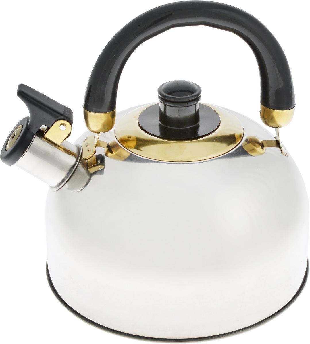 Чайник Bohmann, со свистком, 2,5 л0050001Чайник Bohmann изготовлен из нержавеющей хромоникелевой стали с зеркальной полировкой. Высококачественная сталь представляет собой материал, из которого в течение нескольких десятилетий во всем мире производятся столовые приборы, кухонные инструменты и различные аксессуары. Этот материал обладает высокой стойкостью к коррозии и кислотам. Прочность, долговечность и надежность этого материала, а также первоклассная обработка обеспечивают практически неограниченный запас прочности и неизменно привлекательный внешний вид. Чайник оснащен удобной ручкой из бакелита черного цвета. Ручка не нагревается, что предотвращает появление ожогов и обеспечивает безопасность использования. Носик чайника имеет откидной свисток для определения кипения. Можно использовать на всех типах плит, включая индукционные. Можно мыть в посудомоечной машине. Диаметр (по верхнему краю): 8,5 см.Высота чайника (без учета ручки): 11 см.Высота чайника (с учетом ручки): 20 см.Диаметр основания: 11,5 см.
