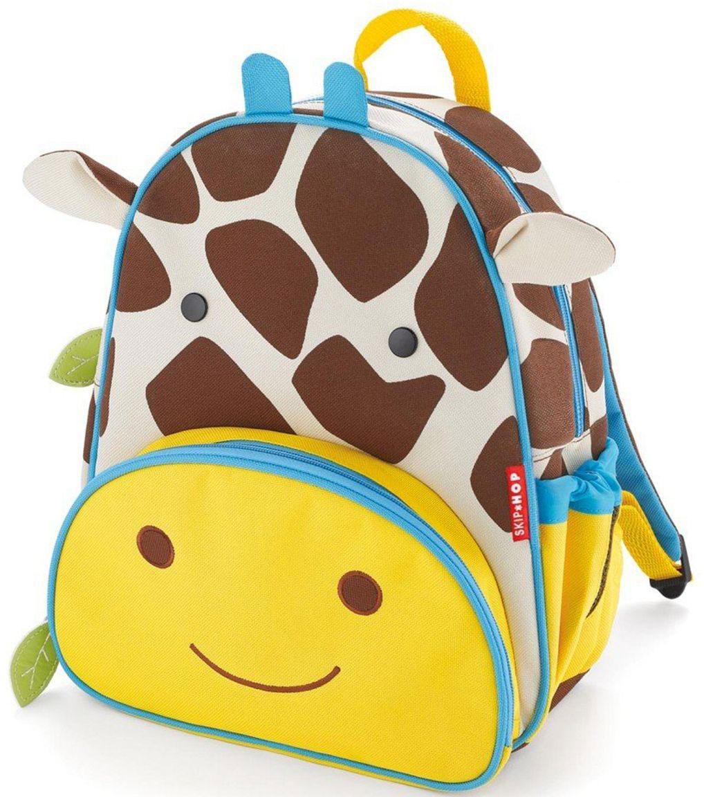 SkipHop Рюкзак дошкольный Жираф72523WDРюкзачок Skip Hop Zoo Pack каждый день будет радовать вашего малыша, вызывать улыбки у прохожих и зависть у сверстников. С ним можно ходить в детский сад, спортивные секции, на прогулку, в гости к бабушке или ездить на экскурсии. В основной отсек легко поместится книжка, альбом для рисования, краски, фломастеры, любимая игрушка и контейнер с едой, а специальный кармашек сбоку предназначен специально для бутылочки с водой. Передний кармашек на молнии предназначен для мелких вещичек. Внутренний кармашек на резиночке зафиксирует положение содержимого: не даст выпасть фломастерам или сломаться киндер-сюрпризу. Рюкзачок выполнен из прочной ткани, способной выдерживать бесконечное количество стирок в машинке. Лямки рюкзачка мягкие, регулируемые. • Размер: 11 x 25 х 29 см. • Для детей с 3 лет.