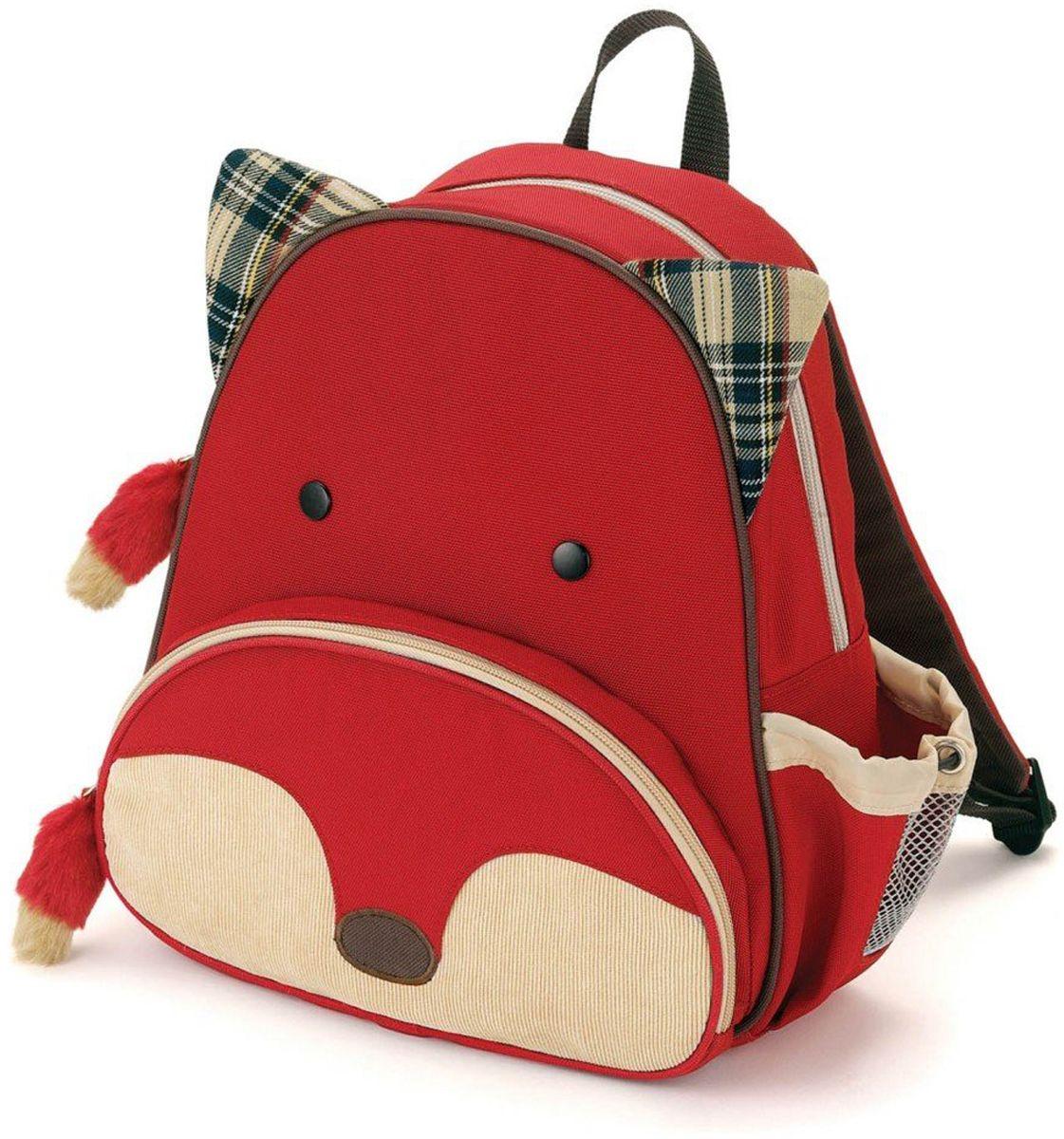 Skip Hop Рюкзак дошкольный Лисичка226100Дошкольный рюкзак Skip Hop каждый день будет радовать вашего малыша, вызывать улыбки у прохожих и зависть у сверстников. С ним можно ходить в детский сад, на прогулку, в гости к бабушке или ездить на экскурсии.Рюкзак имеет одно основное отделение на застежке-молнии, в которое легко поместятся книжка, альбом для рисования, краски, фломастеры, любимая игрушка и контейнер с едой, а кармашек сбоку предназначен специально для бутылочки с водой. Передний карман на молнии предназначен для мелких вещей.Рюкзак оснащен ручкой для переноски в руках и лямками регулируемой длины.