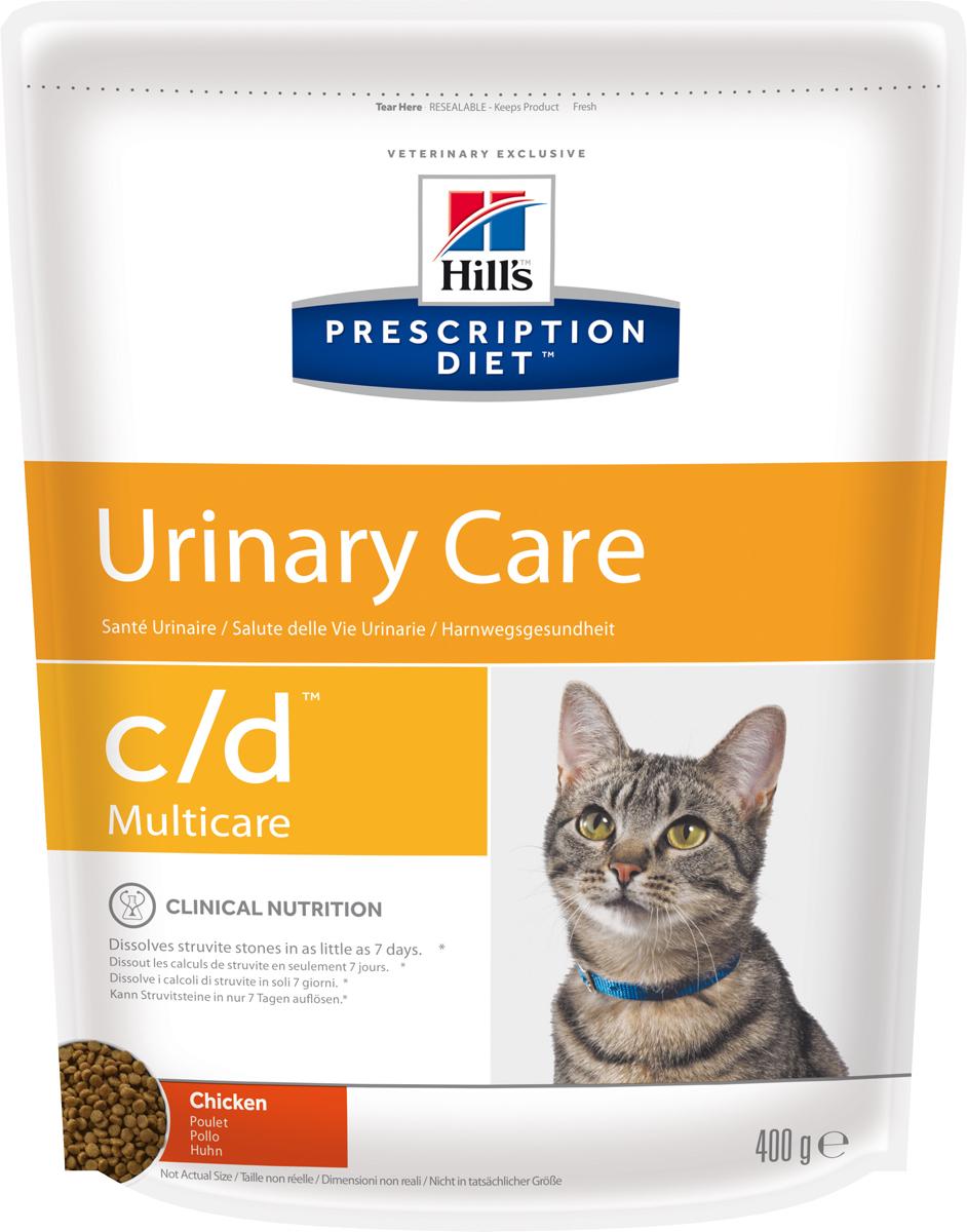 Корм сухой диетический Hills C/D для кошек, профилактика МКБ и струвитов, с курицей, 400 г24Сухой корм для кошек Hills C/D - полноценный диетический рацион для кошек. Рекомендован при урологическом синдроме кошек склонных к набору веса (для снижения вероятности рецидивов струвитного уролитиаза). Рацион обладает закисляющими мочу свойствами и содержит умеренный уровень магния.Растворяет струвитные уролиты уже через 14 дней и предотвращает рецидивы заболевания.- Превосходный вкус понравится вашей кошке.- Супер Антиоксидантная формула повышает устойчивость клеток организма к воздействию свободных радикалов.Рекомендации по кормлению: суточная норма кормления указана на упаковке и должна быть расчитана в соответствии с размером животного, чтобы поддерживать оптимальный вес. Суточную норму можно разделить на 2 и более кормлений в день. Рекомендуемая продолжительность диетотерапии: до 6 месяцев. Обеспечьте питомца постоянным свободным доступом к свежей воде. Состав: зерновые злаки, мясо и пептиды животного происхождения, экстракты растительного белка, масла и жиры, минералы. Подкисляющее мочу вещество: DL-метионин.Анализ: белок 32,4%, жир 15,6%, клетчатка 0,9%, зола 5,2%, кальций 0,72%, фосфор 0,66%, натрий 0,35%, калий 0,76%, хлориды 0,88, сера 0,64%, магний 0,06%. На кг: витамин Е 550мг, бета-каротин 1,5 мг, таурин 2 360 мг.Добавки на кг: витамин А 24170 МЕ, витамин D3 1 430 МЕ, железо 264 мг, йод 2,6 мг, медь 33,5 мг, марганец 11,6 мг, цинк 224 мг, селен 0,5 мг. С антиоксидантами и натуральным консервантом. Товар сертифицирован.Уважаемые клиенты! Обращаем ваше внимание на возможные изменения в дизайне упаковки. Качественные характеристики товара остаются неизменными. Поставка осуществляется в зависимости от наличия на складе.