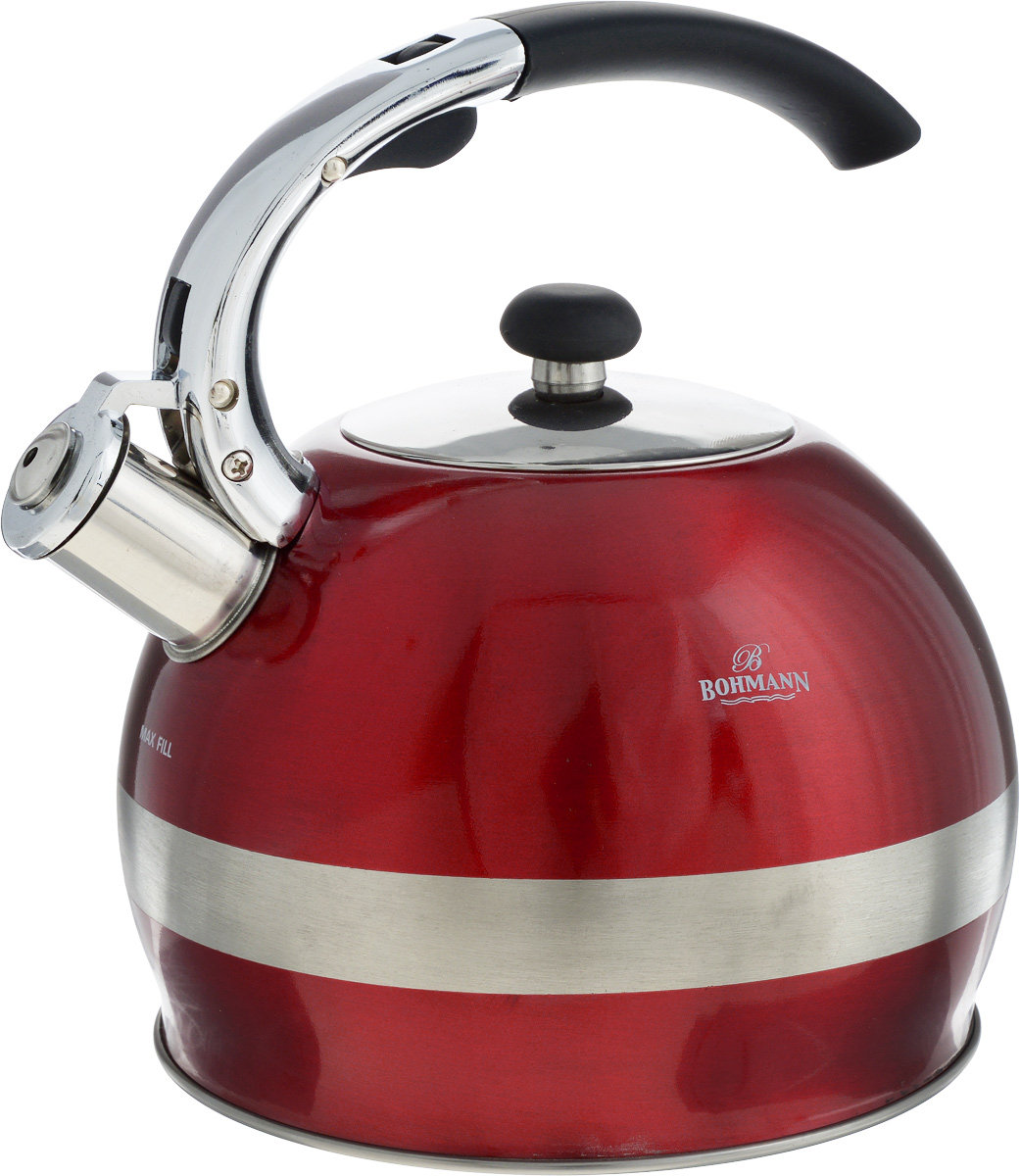 Чайник Bohmann, со свистком, 2,7 л. BH-9995VT-1520(SR)Чайник Bohmann изготовлен из нержавеющей стали с матовой и зеркальной полировкой. Высококачественная сталь представляет собой материал, из которого в течение нескольких десятилетий во всем мире производятся столовые приборы, кухонные инструменты и различные аксессуары. Этот материал обладает высокой стойкостью к коррозии и кислотам. Прочность, долговечность и надежность этого материала, а также первоклассная обработка обеспечивают практически неограниченный запас прочности и неизменно привлекательный внешний вид. Чайник оснащен фиксированной удобной ручкой из бакелита черного цвета. Ручка не нагревается, что предотвращает появление ожогов и обеспечивает безопасность использования. Носик чайника имеет откидной свисток для определения кипения. Можно использовать на всех типах плит, включая индукционные. Можно мыть в посудомоечной машине. Диаметр (по верхнему краю): 9,5 см.Высота чайника (без учета ручки): 14,5 см.Высота чайника (с учетом ручки): 23 см.Диаметр основания: 13 см.