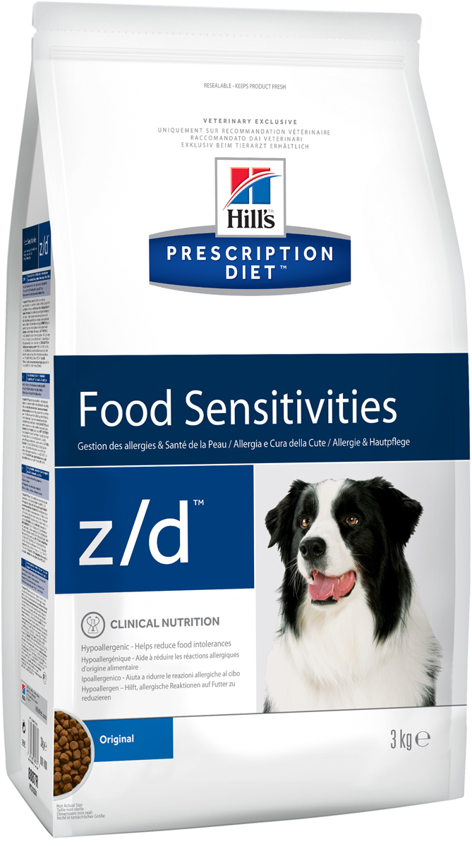 Корм сухой диетический Hills Z/D для собак, для лечения острых пищевых аллергий, 3 кг0120710Сбалансированный лечебный корм для собак Hills Z/D содержит особую формулу с пониженным содержанием аллергенов, благодаря чему является щадящей диетой для собак с чувствительным пищеварением. Пищевая аллергия и непереносимость могут стать причиной таких серьезных проблем, как чувствительная или раздраженная кожа, проблемы с шерстью и ушами, расстройство пищеварения. Собаки с пищевой аллергией или непереносимостью, как правило, показывают негативную реакцию на протеины, содержащиеся в пище. Ключевые преимущества корма: - содержит легкоусвояемые протеины, снижающие риск аллергических реакций, - содержит один источник углеводов, благодаря чему обладает меньшим количеством аллергенов в своем составе. - легкоусвояемые углеводы и жиры снижают нагрузку на желудочно-кишечный тракт, - обогащен Омега-3 и Омега-6 жирными кислотами для здоровой кожи и блестящей шерсти.Рекомендации по кормлению: Монодиета не требует дополнений. Проконсультируйтесь с вашим ветеринаром перед приемом. Суточная норма кормления указана на упаковке и должна быть рассчитана в соответствии с размером животного, чтобы поддерживать оптимальный вес. Суточную норму можно разделить на два и более кормлений в день. Рекомендуемая продолжительность диетотерапии 3-8 недель; при исчезновении клинических симптомов непереносимости диету можно применять без временных ограничений. Обеспечьте питомцу постоянный доступ к свежей воде. Состав: Мясо и производные животного происхождения, производные растительного происхождения, масла и жиры, минералы, гидролизат куриной печени (источник белка), сухой картофель, картофельный крахмал (источники углеводов). Анализ: белок 18,0%, жир 14,3%, незаменимые жирные кислоты 4,2%, сырая клетчатка 4,5%, сырая зола 4,9%, кальций 0,61%, фосфор 0,49%, натрий 0,27%, калий 0,70%; на кг: витамин E 690 мг, витамин С 115 мг, Бета-каротин 1,5 мг, таурин 1 120 мг. Добавки на кг: E671 (витамин D3) 1 180 ME