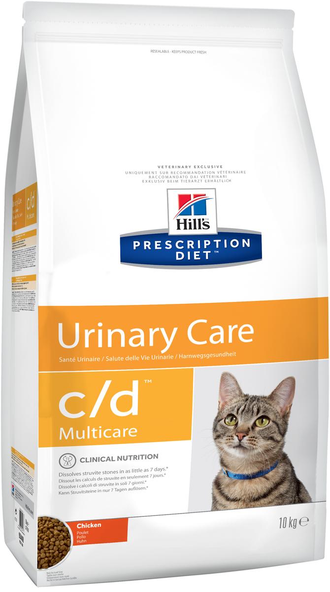 Корм сухой диетический Hills C/D для кошек, профилактика МКБ и струвитов, с курицей, 10 кг9044Сухой корм для кошек Hills C/D - полноценный диетический рацион для кошек. Рекомендован при урологическом синдроме кошек склонных к набору веса (для снижения вероятности рецидивов струвитного уролитиаза). Рацион обладает закисляющими мочу свойствами и содержит умеренный уровень магния.Растворяет струвитные уролиты уже через 14 дней и предотвращает рецидивы заболевания.- Превосходный вкус понравится вашей кошке.- Супер Антиоксидантная формула повышает устойчивость клеток организма к воздействию свободных радикалов.Рекомендации по кормлению: суточная норма кормления указана на упаковке и должна быть расчитана в соответствии с размером животного, чтобы поддерживать оптимальный вес. Суточную норму можно разделить на 2 и более кормлений в день. Рекомендуемая продолжительность диетотерапии: до 6 месяцев. Обеспечьте питомца постоянным свободным доступом к свежей воде. Состав: зерновые злаки, мясо и пептиды животного происхождения, экстракты растительного белка, масла и жиры, минералы. Подкисляющее мочу вещество: DL-метионин.Анализ: белок 32,4%, жир 15,6%, клетчатка 0,9%, зола 5,2%, кальций 0,72%, фосфор 0,66%, натрий 0,35%, калий 0,76%, хлориды 0,88, сера 0,64%, магний 0,06%. На кг: витамин Е 550мг, бета-каротин 1,5 мг, таурин 2 360 мг.Добавки на кг: витамин А 24170 МЕ, витамин D3 1 430 МЕ, железо 264 мг, йод 2,6 мг, медь 33,5 мг, марганец 11,6 мг, цинк 224 мг, селен 0,5 мг. С антиоксидантами и натуральным консервантом. Товар сертифицирован.Уважаемые клиенты! Обращаем ваше внимание на возможные изменения в дизайне упаковки. Качественные характеристики товара остаются неизменными. Поставка осуществляется в зависимости от наличия на складе.