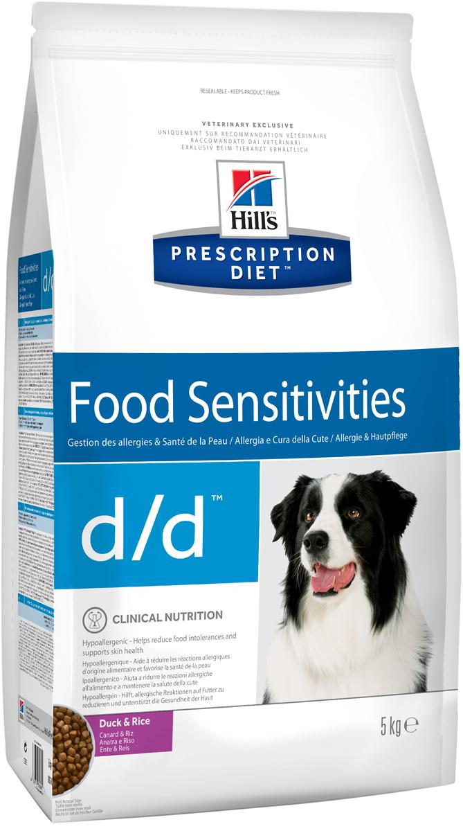 Корм сухой для собак Hills D/D Allergy & Skin Care, диетический, для лечения пищевых аллергий, с уткой и рисом, 5 кг0120710Сухой корм для собак Hills D/D - полноценный диетический рацион для собак, склонных к пищевым реакциям, или с непереносимостью компонентов пищи. Поддерживает здоровье кожи при дерматитах и чрезмерной потере шерсти. Содержит специально подобранные источники протеинов, углеводов и высокий уровень полиненасыщенных жирных кислот. Не содержит распространенных пищевых аллергенов, содержит высокий уровень незаменимых жирных кислот для улучшения состояния кожи вашей собаки.- Превосходный вкус понравится вашей собаке.- Супер антиоксидантная формула повышает устойчивость клеток организма к воздействию свободных радикалов.Монодиета. Не требует дополнений. Рекомендации по кормлению: рекомендуемое число кормлений 2 раза в сутки и более. Рекомендуемая продолжительность диетотерапии при пищевой аллергии/непереносимости компонентов пищи - 3-8 недель, при исчезновении клинических симптомов диету можно применять без временных ограничений. Рекомендуемая продолжительность диетотерапии при дерматитах и чрезмерной потери шерсти - до 2х месяцев. Обеспечьте питомца постоянным свободным доступом к свежей воде. Состав: зерновые злаки, мясо и пептиды животного происхождения, масла и жиры, минералы, производные растительного происхождения. Источник белка: мука из утки, куриный гидролизат. Источник углеводов: рис. Анализ: белок 16,6%, жир 13,8%, незаменимые жирные кислоты 3,7%, клетчатка 1,3%, зола 4,7%, кальций 0,74%, фосфор 0,56%, натрий 0,33%, калий 0,64%. На кг: витамин Е 600мг, витамин С 70 мл, бета-каротин 1,5 мг. Добавки на кг: витамин А 16000 МЕ, витамин D3 940 МЕ, железо 72,5 мг, йод 1,2 мг, медь 7,2 мг, марганец 7,5 мг, цинк 150 мг, селен 0,2 мг. С антиоксидантами. Товар сертифицирован.Уважаемые клиенты! Обращаем ваше внимание на возможные изменения в дизайне упаковки. Качественные характеристики товара остаются неизменными. Поставка осуществляется в зависимости о