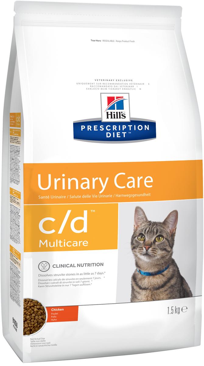 Корм сухой диетический Hills C/D для кошек, профилактика МКБ и струвитов, с курицей, 1,5 кг0120710Сухой корм для кошек Hills C/D - полноценный диетический рацион для кошек. Рекомендован при урологическом синдроме кошек склонных к набору веса (для снижения вероятности рецидивов струвитного уролитиаза). Рацион обладает закисляющими мочу свойствами и содержит умеренный уровень магния.Растворяет струвитные уролиты уже через 14 дней и предотвращает рецидивы заболевания.- Превосходный вкус понравится вашей кошке.- Супер Антиоксидантная формула повышает устойчивость клеток организма к воздействию свободных радикалов.Рекомендации по кормлению: суточная норма кормления указана на упаковке и должна быть расчитана в соответствии с размером животного, чтобы поддерживать оптимальный вес. Суточную норму можно разделить на 2 и более кормлений в день. Рекомендуемая продолжительность диетотерапии: до 6 месяцев. Обеспечьте питомца постоянным свободным доступом к свежей воде. Состав: зерновые злаки, мясо и пептиды животного происхождения, экстракты растительного белка, масла и жиры, минералы. Подкисляющее мочу вещество: DL-метионин.Анализ: белок 32,4%, жир 15,6%, клетчатка 0,9%, зола 5,2%, кальций 0,72%, фосфор 0,66%, натрий 0,35%, калий 0,76%, хлориды 0,88, сера 0,64%, магний 0,06%. На кг: витамин Е 550мг, бета-каротин 1,5 мг, таурин 2 360 мг.Добавки на кг: витамин А 24170 МЕ, витамин D3 1 430 МЕ, железо 264 мг, йод 2,6 мг, медь 33,5 мг, марганец 11,6 мг, цинк 224 мг, селен 0,5 мг. С антиоксидантами и натуральным консервантом. Товар сертифицирован.Уважаемые клиенты! Обращаем ваше внимание на возможные изменения в дизайне упаковки. Качественные характеристики товара остаются неизменными. Поставка осуществляется в зависимости от наличия на складе.