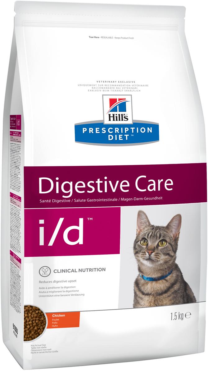 Корм сухой диетический Hills I/D для кошек, для лечения ЖКТ, 1,5 кг0120710Сухой корм для кошек Hills I/D - полноценный диетический рацион при острых кишечных абсорбативных расстройствах, для компенсации дефицита нутриентов (питательных веществ), при нарушении пищеварения и экзокринной недостаточности поджелудочной железы у кошек. Рацион содержит повышенный уровень электролитов, ингредиенты высокой биологической ценности и биодоступности и пониженный уровень жира. Пониженный уровень жира и обогащение пребиотическими волокнами обеспечивает легкость пищеварения и быстрое восстановление организма после диареи.- Превосходный вкус понравится вашей кошке.- Супер Антиоксидантная формула помогает укрепить иммунную систему.Состав: мясо и пептиды животного происхождения, зерновые злаки, экстракты растительного белка, производные растительного происхождения, масла и жиры, минералы, семена. Ингредиенты высокой биологической ценности: кукуруза, рис, мука из птицы, животный жир.Анализ: белок 38,3%, жир 18,9%, клетчатка 2,7%, зола 6,7%, кальций 1,07%, фосфор 0,81%, натрий 0,35%, калий 1,00%, магний 0,07%. На кг: витамин Е 550мг, витамин С 70 мг, бета-каротин 1,5 мг, таурин 1 880.Добавки на кг: витамин А 18 250 МЕ, витамин D3 1 075 МЕ, железо 87 мг, йод 1,4 мг, медь 8,6 мг, марганец 9 мг, цинк 180 мг, селен 0,24 мг. С антиоксидантами и консервантом.Товар сертифицирован.Уважаемые клиенты! Обращаем ваше внимание на возможные изменения в дизайне упаковки. Качественные характеристики товара остаются неизменными. Поставка осуществляется в зависимости от наличия на складе.