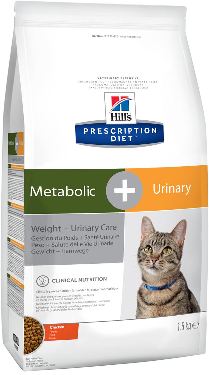 Корм сухой диетический Hills Metabolic + Urinary Feline, для кошек, для снижения веса и растворения струвитов, с курицей, 1,5 кг0120710Hills Prescription Diet Metabolic + Urinary Feline - это полноценный диетический рацион для кошек для снижения веса, растворения струвитов и уменьшения вероятности рецидива струвитного уролитиаза (заболевания нижнего отдела мочевыводящих путей). Это диетический рацион с пониженной энергетической плотностью и закисляющими мочу свойствами, содержит низкий уровень магния. Рекомендуется применять:1. На начальном этапе у кошек с любым типом заболевании нижних отделов мочевыводящих путей, в том числе кристаллурией и уролитиазом любого генеза, уретральными пробками и идиопатическим циститом кошек.2. Для растворения стерильных струвитных уролитов.3. Для долговременного использования для кошек, склонных к: - Образованию струвитных кристаллов и уролитов, кристаллов и уролитов кальция оксалата и кальция фосфата (снижение появления и частоты рецидивов);- Формированию уретральных пробок (почти всегда вызванных кристаллами струвита или кальция фосфата)- Идиопатическому циститу кошек (ИЦК). А также корм рекомендуется:- Для предотвращения набора избыточного веса и ожирения.- Для поддержания веса после его снижения.Не рекомендуется:- Собакам,- Котятам,- Беременным и кормящим кошкам.Дополнительная информация.Контроль здоровья мочевыводящих путей:- Клинически доказано - растворяет струвиты всего за 7 дней (в среднем 27 дней).- Не рекомендуется дополнительно давать вещества, закисляющие мочу.- Необходимо контролировать состав мочи, чтобы гарантировать поддержание необходимого значения рН, при необходимости – исключить инфекцию мочевыводящих путей. Контроль веса:- Рацион снижает вес на 11% за 60 дней.- Комплекс нутриентов в рационе Metabolic + Urinary учитывает индивидуальные энергетические потребности кошки, оптимизируя процесс сжигания жиров и влияя на эффективное использование калорий.- Позволяет избежать повторного набора веса после прохождения прогр