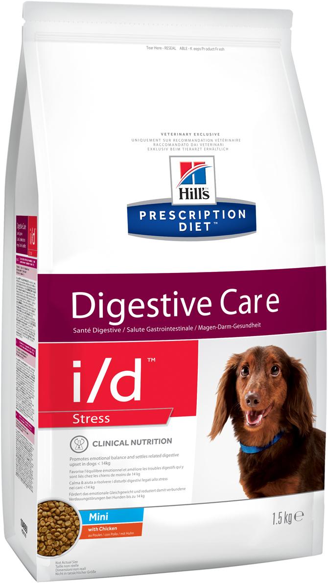 Корм сухой Hills Prescription Diet i/d Stress MINI, диетический, для собак мелких пород, при заболеваниях ЖКТ, вызванных стрессом, 1,5 кг10469Рационы Hills Prescription Diet клинически протестированы, разработаны для поддержания и коррекции состояния у животных, имеющих проблемы со здоровьем при сохранении превосходных вкусовых характеристик. Рационы Hills Prescription Diet могут быть рекомендованы только ветеринарным врачом. Они являются выбором ветеринарных врачей для диетотерапии у собственных домашних животных, страдающих заболеваниями или находящихся в группе риска.Внимание!!! Осуществляя покупку, Вы подтверждаете, что осведомлены о необходимости получения рекомендации ветеринарного специалиста не реже, чем раз в 6 месяцев для применения данного рациона.Hills PrescriptionDiet i/d Stress Canine Mini с Курицей (18%) – полноценный диетический рацион для взрослых собак при острых кишечных абсорбционных расстройствах, нарушении переваривания пищи и хронических заболеваниях, при которых требуется питание с низким содержанием жира. Рацион содержит повышенный уровень электролитов, ингредиенты высокой биологической ценности и пониженный уровень жира.Рекомендуется:- Собакам мелких пород (до 14кг) с расстройством пищеварения, вызванным стрессом- Собакам мелких пород (до 14кг) при колитах, вызванных стрессом- Собакам мелких пород (до 14кг) при синдроме раздраженной толстой кишки Не рекомендуется- Щенкам.- Беременным и лактирующим сукам.Дополнительная информация- Для собак весом >= 14 кг возможно понадобится дополнительное введение гидролизата молочного протеина для достижения оптимального эффекта.- Рекомендуется назначать, если есть вероятность стрессовой ситуации (переезд, фейрверки и салюты и т.д.) и для поддержания здоровья собак в случаях хронических заболеваний желудочно-кишечного тракта для уменьшения риска рецидивов. - Обеспечивает точно сбалансированное питание для взрослых собак мелких пород Ключевые преимущества- Запатентованная анти-стресс формула помогает умень