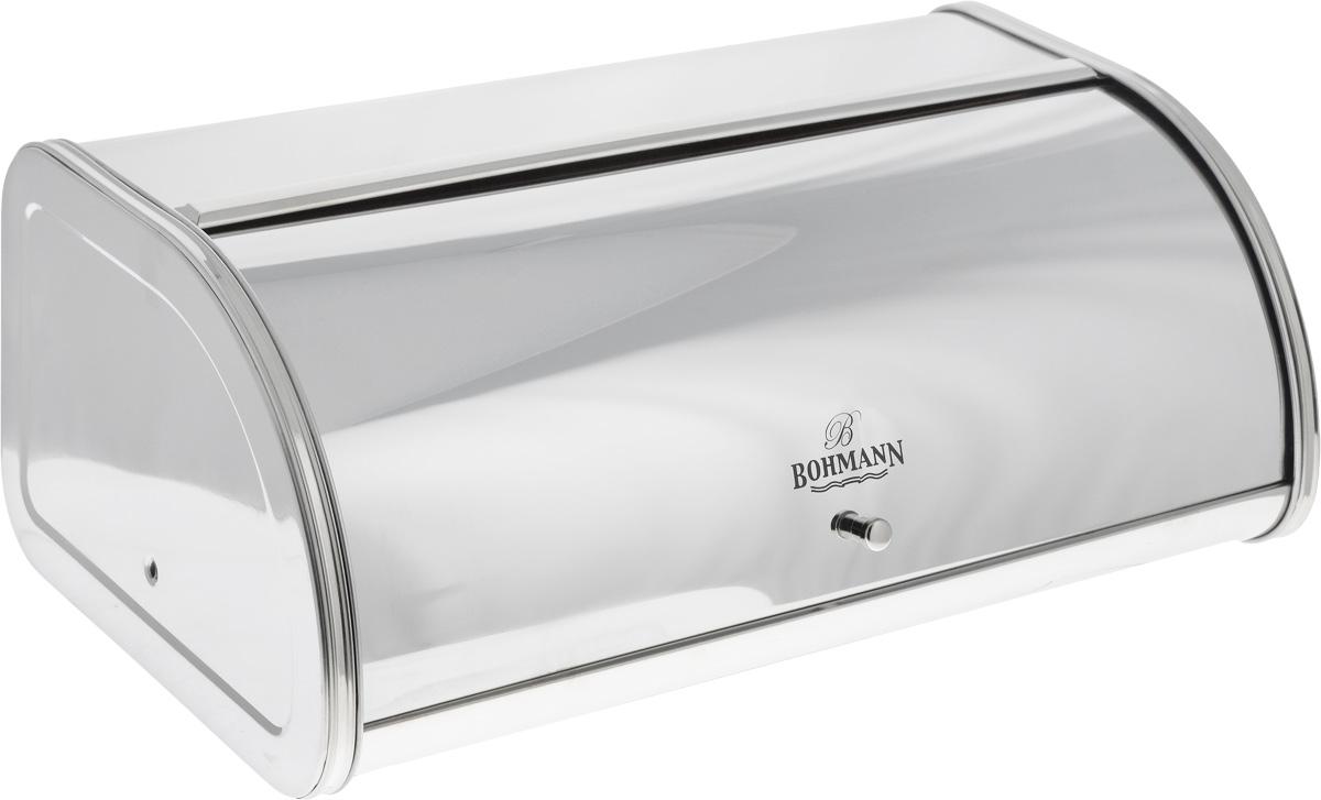 Хлебница Bohmann, 44,5 х 26,5 х 17,5 см. 7240BHАксион Т33Хлебница Bohmann изготовлена из высококачественной нержавеющей стали c зеркальной полировкой. Компактная в использовании, хлебница не требует дополнительного места при открывании крышки. Крышка гладко скользит внутрь корпуса при открытии. Задняя стенка хлебницы оснащена отверстиями для циркуляции воздуха. Хлебница Bohmann позволит надолго сохранить свежесть, мягкость, аромат хлеба и других хлебобулочных изделий. Она отличается стильным классическим дизайном и впишется в любой кухонный интерьер.