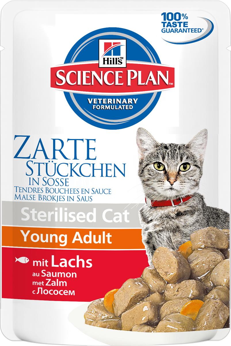 Консервы Hills Sterilised Cat Young Adult для стерилизованных кошек до 6 лет, с лососем, 85 г1942Стерилизованные кошки в три раза более склонны к набору лишнего веса и образованию камней в мочевом пузыре.Консервы Hills Sterilised Cat Young Adult способствует гармоничному развитию и удовлетворяет специфические потребности стерилизованных кошек. Содержит комплекс антиоксидантов с клинически подтвержденным эффектом и уникальную формулу контроля веса.Ключевые преимущества:Уникальная формула контроля веса способствует сжиганию жира и укреплению мышц Контролируемые уровни минералов для поддержания здоровья мочевыводящих путей Легко усваиваемые ингредиенты для оптимального всасывания Ингредиенты высокого качества. 100% гарантии качества, консистенции и вкуса.Состав: мясо и пептиды животного происхождения, зерновые злаки, рыба и рыбные производные, экстракты растительного белка, производные растительного происхождения, различные виды сахаров, минералы, овощи, яйцо и его производные, масла и жиры. Анализ: белок 7,9%, жир 2,4%, клетчатка 1,2%, зола 1,3%, влага 80%, кальций 0,19%, фосфор 0,16%, натрий 0,07%, магний 0,018%; на кг: витамин Е 130 мг, витамин С 20 мг, бета-каротин 0,3 мг.Добавки на кг: Е671 (Витамин D3) 170 МЕ, Е1 (железо) 57,8 мг, Е2 (йод) 1,1 мг, Е4 (медь) 12,3 мг, Е5 (марганец) 5,4 мг, Е6 (цинк) 61,1 мг, натуральная карамель (природный краситель). Товар сертифицирован.