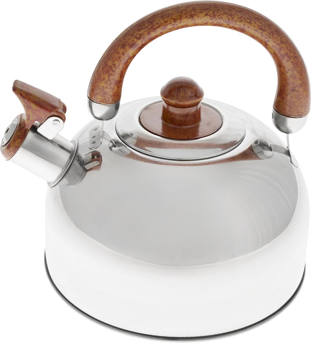 Чайник Bohmann, со свистком, 2,5 л. 622BHL54 009312Чайник Bohmann изготовлен из высококачественной нержавеющей стали с зеркальной полировкой. Нержавеющая сталь - материал, из которого в течение нескольких десятилетий во всем мире производятся столовые приборы, кухонные инструменты и различные аксессуары. Этот материал обладает высокой стойкостью к коррозии и кислотам. Прочность, долговечность и надежность этого материала, а также первоклассная обработка обеспечивают практически неограниченный запас прочности и неизменно привлекательный внешний вид. Чайник оснащен удобной фиксированной ручкой, выполненной из бакелита с рисунком под дерево. Носик чайника имеет откидной свисток, который подскажет, когда вода закипела. Можно использовать на газовых, электрических, галогеновых, стеклокерамических, индукционных плитах. Можно мыть в посудомоечной машине.Высота чайника (без учета ручки и крышки): 11 см.Высота чайника (с учетом ручки): 20 см.Диаметр основания чайника: 19 см.Диаметр чайника (по верхнему краю): 8,5 см.