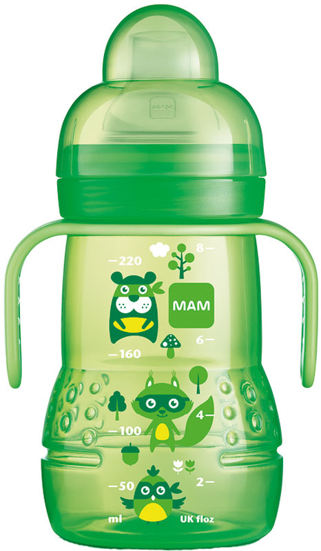МАМ Чашка тренировочная с носиком ручками и соской от 4 месяцев цвет зеленый 220 мл15748577EXP/1Тренировочный поильник удобной формы, в комплекте соска непроливайка для вязких жидкостей, с силиконовым мягким носиком, для упрощения перехода привыкания ребенка от бутылки к чашке.