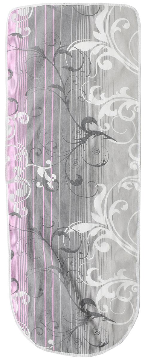 """Чехол для гладильной доски """"Detalle"""", цвет: серый, белый, розовый, 125 х 47 см"""