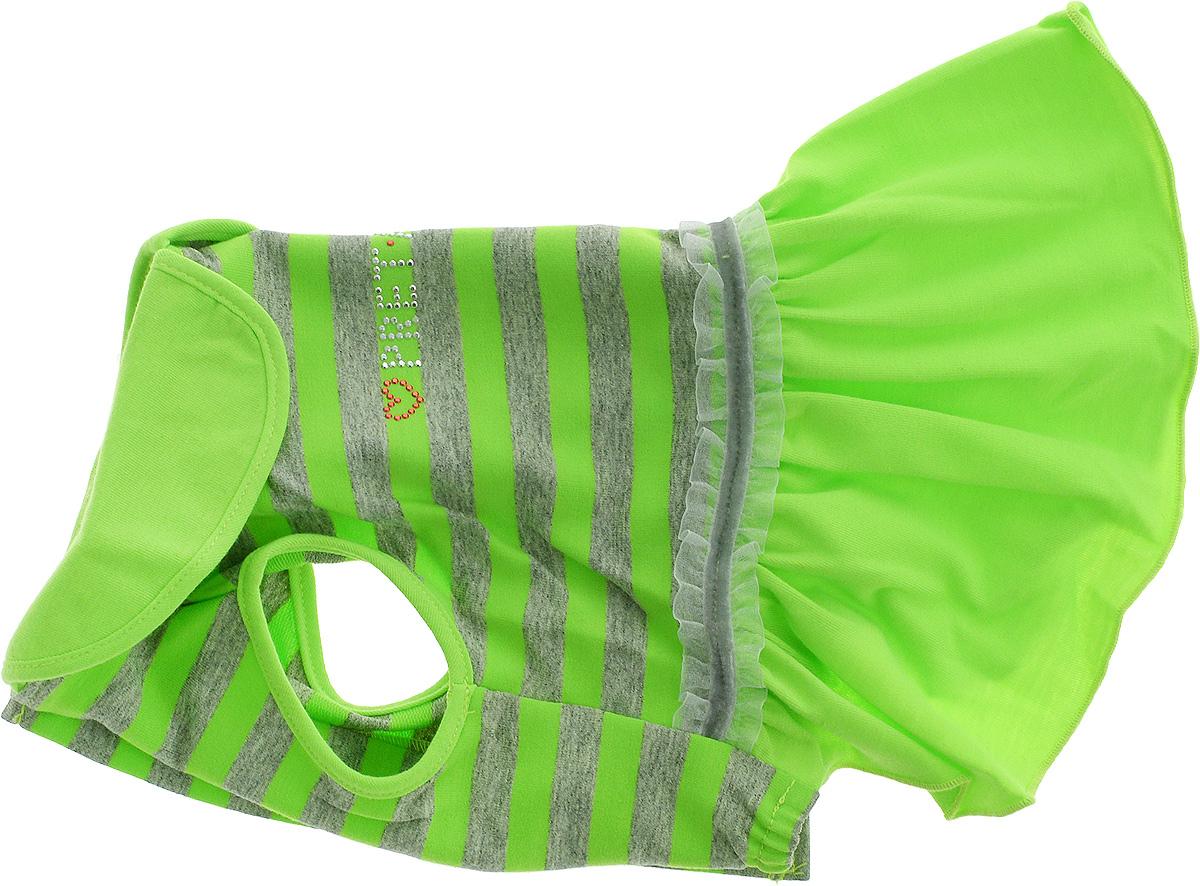 Платье для собак Pret-a-Pet Фэшн Ультра, для девочки, цвет: зеленый, серый. Размер MDM-160317Платье для собак Pret-a-Pet Фэшн Ультра, изготовленное из вискозы, отлично подойдет для прогулок в сухую погоду или для дома.Изделие оснащено внутренней резинкой. Спинка украшена текстильной ленточкой и стразами. Застегивается платье на животе на металлические кнопки.Благодаря такому платью вашему питомцу будет комфортно наслаждаться прогулкой или играми дома.Длина по спинке: 27-29 см.Объем груди: 37-39 см.Обхват шеи: 28 см.