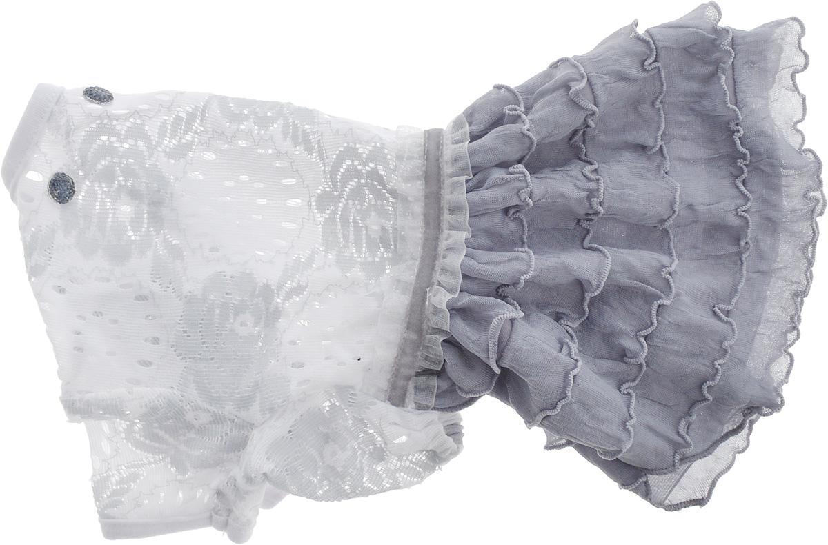 Платье для собак Pret-a-Pet Кружево, для девочки, цвет: белый, серый. Размер XSDM-160316_серыйПлатье для собак Pret-a-Pet Кружево, изготовленное из полиэстера и ажурного текстиля, отлично подойдет для прогулок в сухую погоду.Изделие оснащено внутренней резинкой, благодаря чему его легко надевать и снимать. Спинка декорирована оригинально брошкой.Благодаря такому платью вашему питомцу будет комфортно наслаждаться прогулкой или играми дома.Длина по спинке: 19-21 см.Объем груди: 26-28 см.Обхват шеи: 24 см.