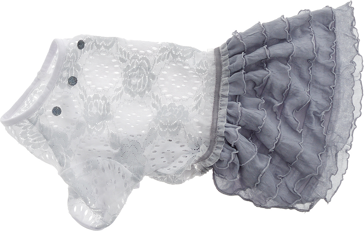Платье для собак Pret-a-Pet Кружево, для девочки, цвет: белый, серый. Размер L0120710Платье для собак Pret-a-Pet Кружево, изготовленное из полиэстера и ажурного текстиля, отлично подойдет для прогулок в сухую погоду.Изделие оснащено внутренней резинкой, благодаря чему его легко надевать и снимать. Спинка декорирована оригинально брошкой.Благодаря такому платью вашему питомцу будет комфортно наслаждаться прогулкой или играми дома.Длина по спинке: 28-30 см.Объем груди: 43-45 см.Обхват шеи: 30 см.