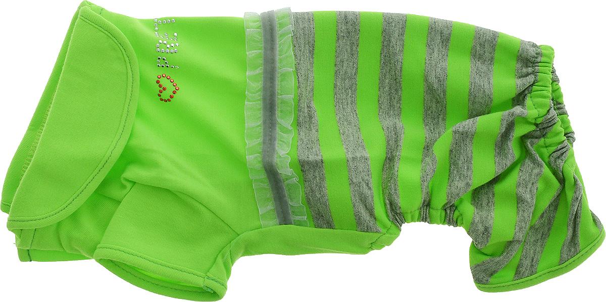 Комбинезон для собак Pret-a-Pet Фэшн Ультра, для девочки, цвет: зеленый, серый. Размер XS. MOS-0020120710Комбинезон для собак Pret-a-Pet Фэшн Ультра, изготовленный из вискозы, отлично подойдет для прогулок в сухую погоду или для дома.Изделие оснащено внутренней резинкой, благодаря чему его легко надевать и снимать. Низ рукавов и брючин имеетспециальные прорези для лапок. Спинка украшена текстильной ленточкой и стразами. Застегивается комбинезон на металлические кнопки, расположенные на животе.Благодаря такому комбинезону вашему питомцу будет комфортно наслаждаться прогулкой или играми дома.Длина по спинке: 19-21 см.Объем груди: 26-28 см.Обхват шеи: 24 см.