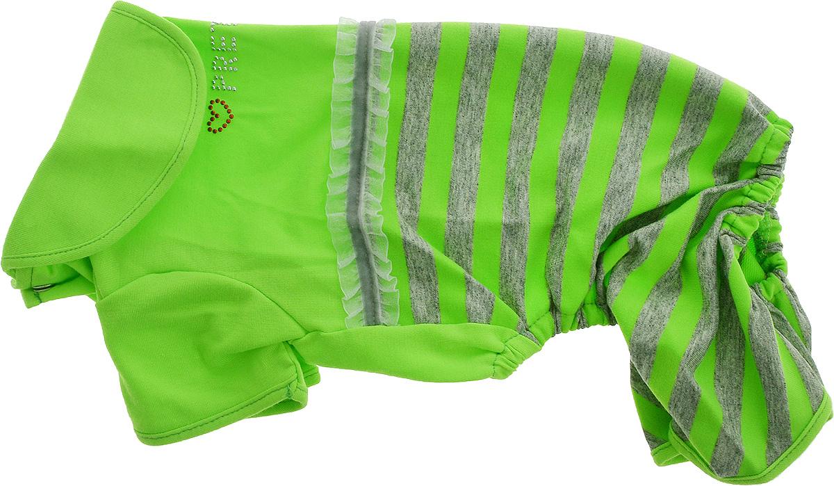 Комбинезон для собак Pret-a-Pet Фэшн Ультра, для девочки, цвет: зеленый, серый. Размер M. MOS-002DM-160300Комбинезон для собак Pret-a-Pet Фэшн Ультра, изготовленный из вискозы, отлично подойдет для прогулок в сухую погоду или для дома.Изделие оснащено внутренней резинкой, благодаря чему его легко надевать и снимать. Низ рукавов и брючин имеетспециальные прорези для лапок. Спинка украшена текстильной ленточкой и стразами. Застегивается комбинезон на металлические кнопки, расположенные на животе.Благодаря такому комбинезону вашему питомцу будет комфортно наслаждаться прогулкой или играми дома.Длина по спинке: 27-29 см.Объем груди: 37-39 см.Обхват шеи: 28 см.