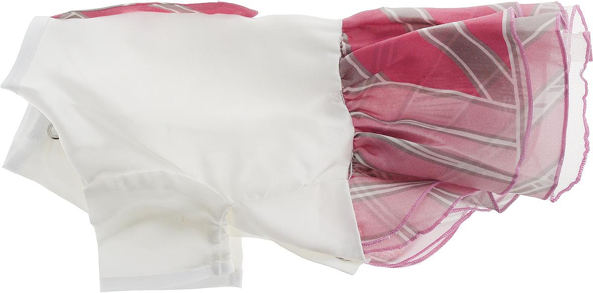 Платье для собак Pret-a-Pet Галстук, для девочки, цвет: белый, розовый. Размер S101246Платье для собак Pret-a-Pet Галстук, изготовленное из искусственного шелка, отлично подойдет для прогулок в сухую погоду.Низ изделия снабжен подкладкой из фатина. Спинка украшена галстуком и оригинальной подвеской со стразами. Застегивается платье на животе на металлические кнопки.Благодаря такому платью вашему питомцу будет комфортно наслаждаться прогулкой или играми дома.Длина по спинке: 23-25 см.Объем груди: 31-33 см.Обхват шеи: 24 см.