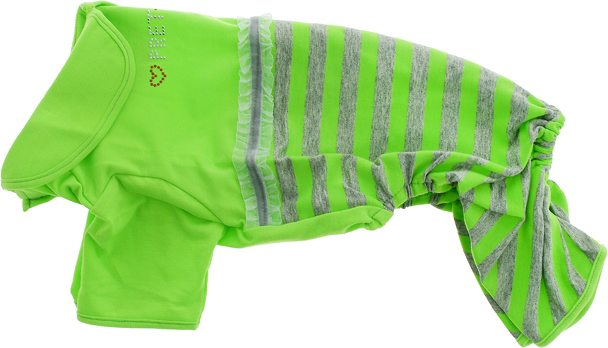Комбинезон для собак Pret-a-Pet Фэшн Ультра, для девочки, цвет: зеленый, серый. Размер L. MOS-002MOS-001-PINK-XSКомбинезон для собак Pret-a-Pet Фэшн Ультра, изготовленный из вискозы, отлично подойдет для прогулок в сухую погоду или для дома.Изделие оснащено внутренней резинкой, благодаря чему его легко надевать и снимать. Низ рукавов и брючин имеетспециальные прорези для лапок. Спинка украшена текстильной ленточкой и стразами. Застегивается комбинезон на металлические кнопки, расположенные на животе.Благодаря такому комбинезону вашему питомцу будет комфортно наслаждаться прогулкой или играми дома.Длина по спинке: 28-30 см.Объем груди: 43-45 см.Обхват шеи: 30 см.