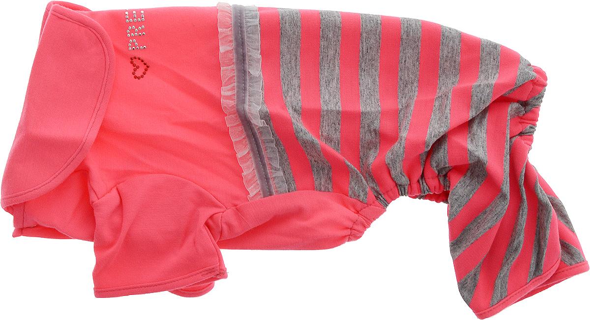 Комбинезон для собак Pret-a-Pet Фэшн Ультра, для девочки, цвет: розовый, серый. Размер M. MOS-00112171996Комбинезон для собак Pret-a-Pet Фэшн Ультра, изготовленный из вискозы, отлично подойдет для прогулок в сухую погоду или для дома.Изделие оснащено внутренней резинкой, благодаря чему его легко надевать и снимать. Низ рукавов и брючин имеетспециальные прорези для лапок. Спинка украшена текстильной ленточкой и стразами. Застегивается комбинезон на металлические кнопки, расположенные на животе.Благодаря такому комбинезону вашему питомцу будет комфортно наслаждаться прогулкой или играми дома.Длина по спинке: 27-29 см.Объем груди: 37-39 см.Обхват шеи: 28 см.