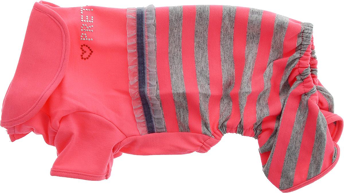 Комбинезон для собак Pret-a-Pet Фэшн Ультра, для девочки, цвет: розовый, серый. Размер XS. MOS-0010120710Комбинезон для собак Pret-a-Pet Фэшн Ультра, изготовленный из вискозы, отлично подойдет для прогулок в сухую погоду или для дома.Изделие оснащено внутренней резинкой, благодаря чему его легко надевать и снимать. Низ рукавов и брючин имеетспециальные прорези для лапок. Спинка украшена текстильной ленточкой и стразами. Застегивается комбинезон на металлические кнопки, расположенные на животе.Благодаря такому комбинезону вашему питомцу будет комфортно наслаждаться прогулкой или играми дома.Длина по спинке: 19-21 см.Объем груди: 26-28 см.Обхват шеи: 24 см.