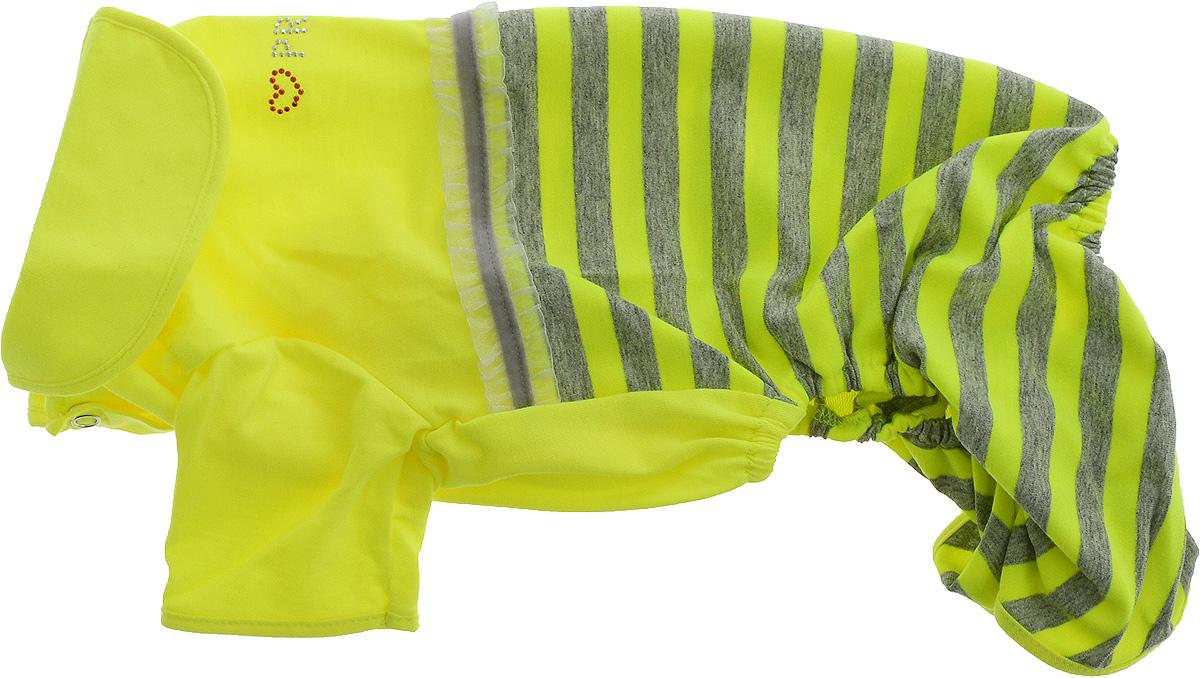 Комбинезон для собак Pret-a-Pet Фэшн Ультра, для девочки, цвет: желтый, серый. Размер L0120710Комбинезон для собак Pret-a-Pet Фэшн Ультра, изготовленный из вискозы, отлично подойдет для прогулок в сухую погоду или для дома.Изделие оснащено внутренней резинкой, благодаря чему его легко надевать и снимать. Низ рукавов и брючин имеетспециальные прорези для лапок. Спинка украшена текстильной ленточкой и стразами. Застегивается комбинезон на металлические кнопки, расположенные на животе.Благодаря такому комбинезону вашему питомцу будет комфортно наслаждаться прогулкой или играми дома.Длина по спинке: 28-30 см.Объем груди: 43-45 см.Обхват шеи: 30 см.