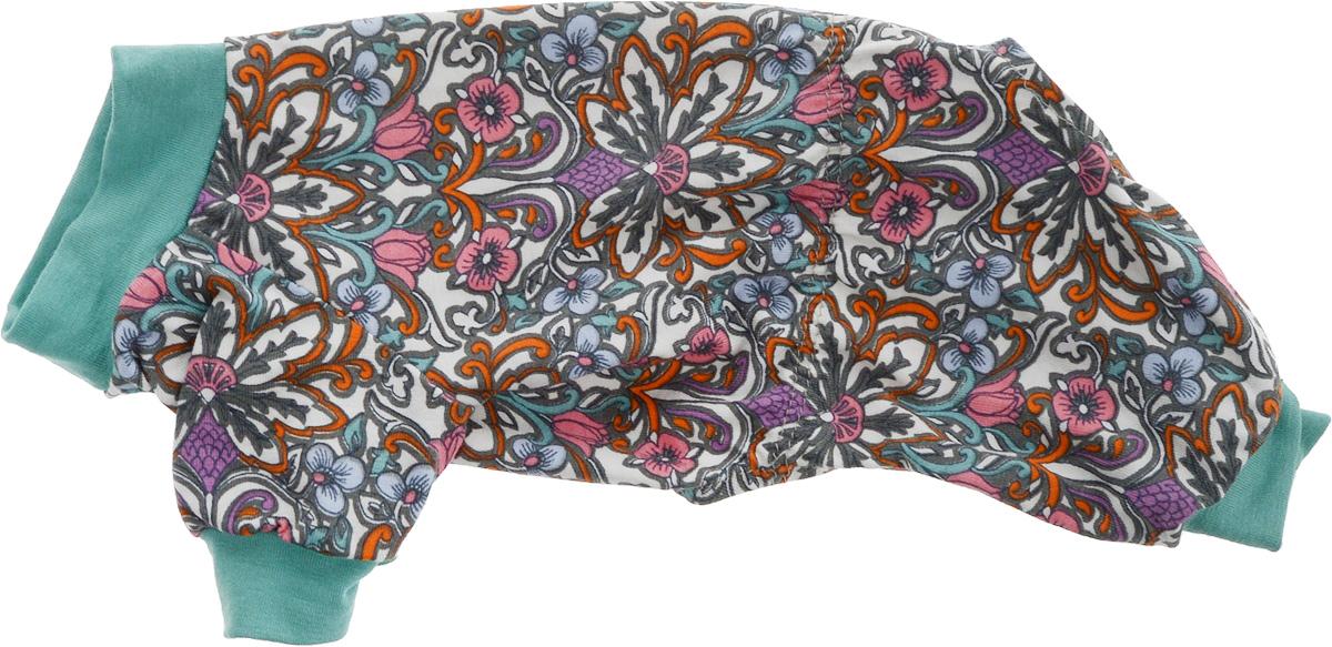 Комбинезон для собак Yoriki Калейдоскоп, унисекc, цвет: зеленый, розовый, белый. Размер S. 214-01К-1022-хаки-вставкаХлопковый комбинезон для собак Yoriki Калейдоскоп отлично защитит вашего питомца в летний день от пыли и насекомых. Благодаря такому комбинезону вашему питомцу будет комфортно наслаждаться прогулкой. Обхват шеи: 20-24 см.Длина по спинке: 21 см.Объем груди: 29-36 см.