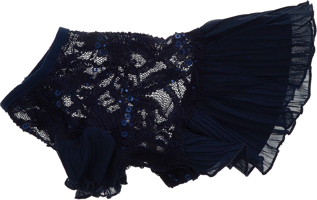 Платье для собак Pret-a-Pet , для девочки, цвет: темно-синий. Размер XS0120710Плиссированное платье для собак Pret-a-Pet , изготовленное из полиэстера, ажурного текстиля (кружева) и вискозы, отлично подойдет для прогулок в сухую погоду.Низ изделия снабжен подкладкой. Платье украшено пайетками и оснащено внутренней резинкой, благодаря чему его легко надевать и снимать.В таком платье вашему питомцу будет комфортно наслаждаться прогулкой или играми дома.Длина по спинке: 19-21 см.Объем груди: 26-28 см.Обхват шеи: 24 см.